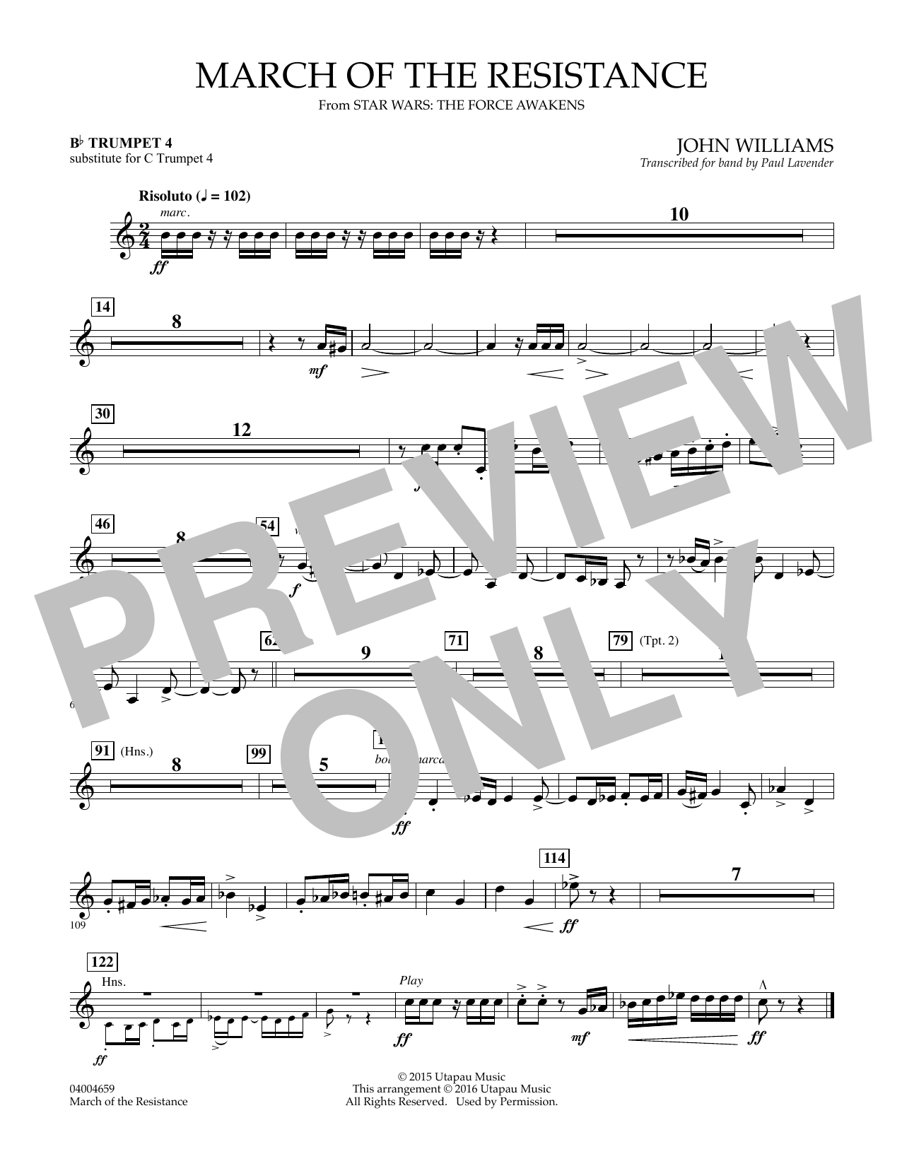 March of the Resistance - Bb Trumpet 1 (sub. C Tpt. 1 - - Bb Trumpet 4 (sub. C Tpt. 4) (Concert Band)