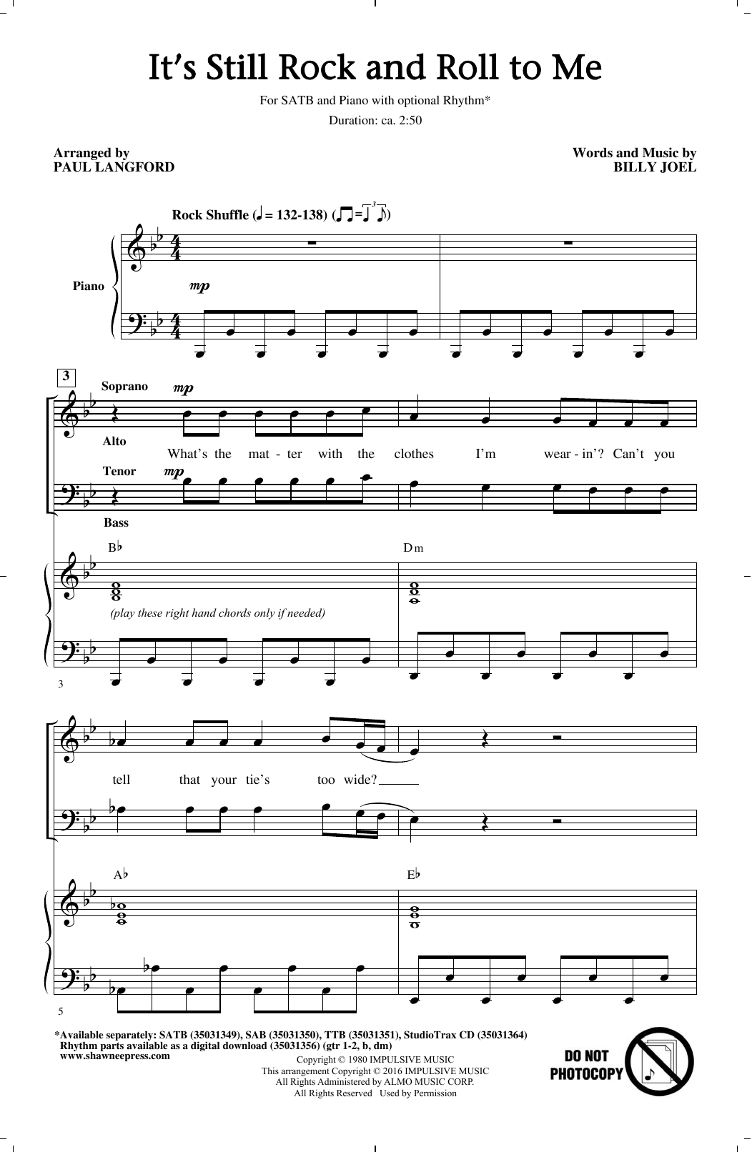Partition chorale It's Still Rock And Roll To Me de Billy Joel - SATB