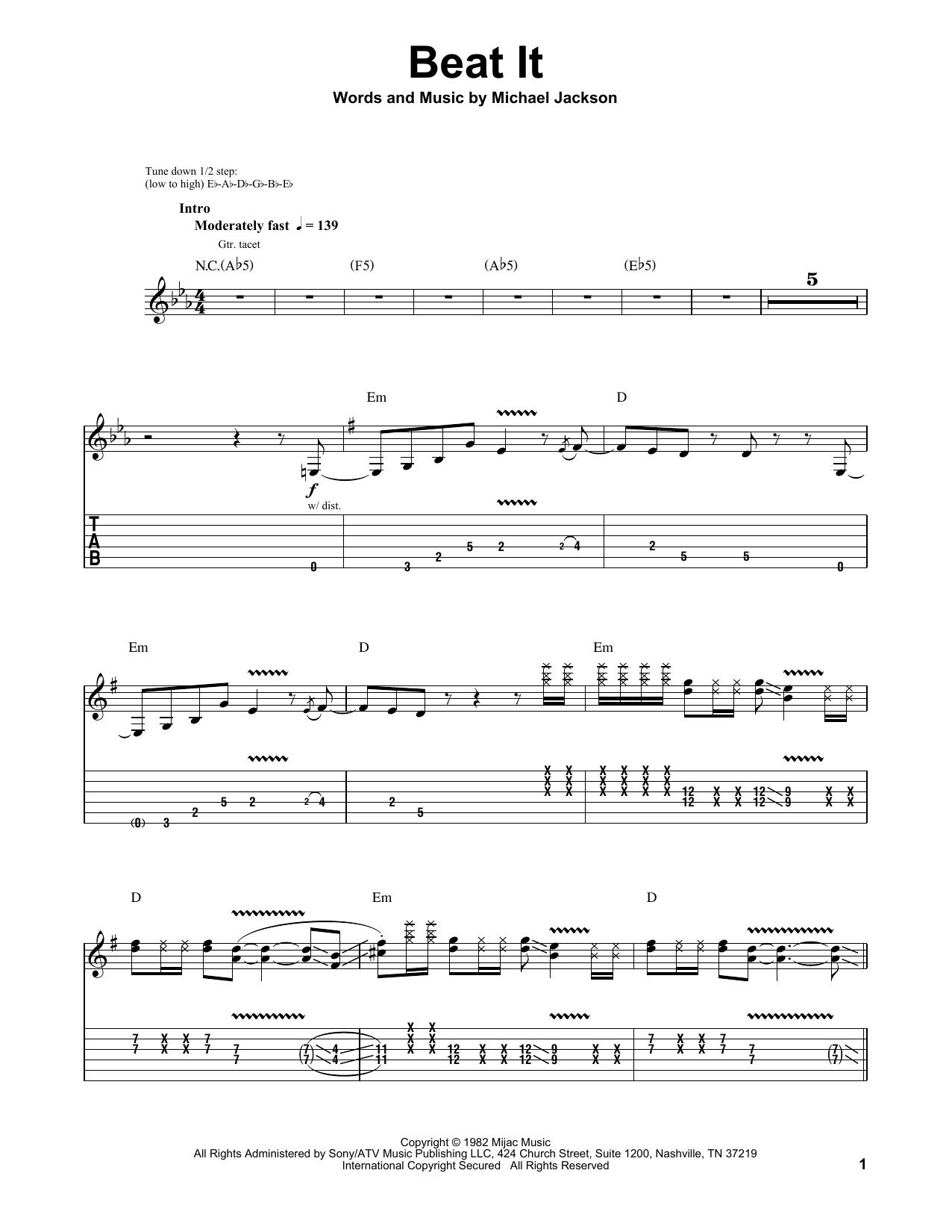 Beat It (Guitar Tab (Single Guitar))