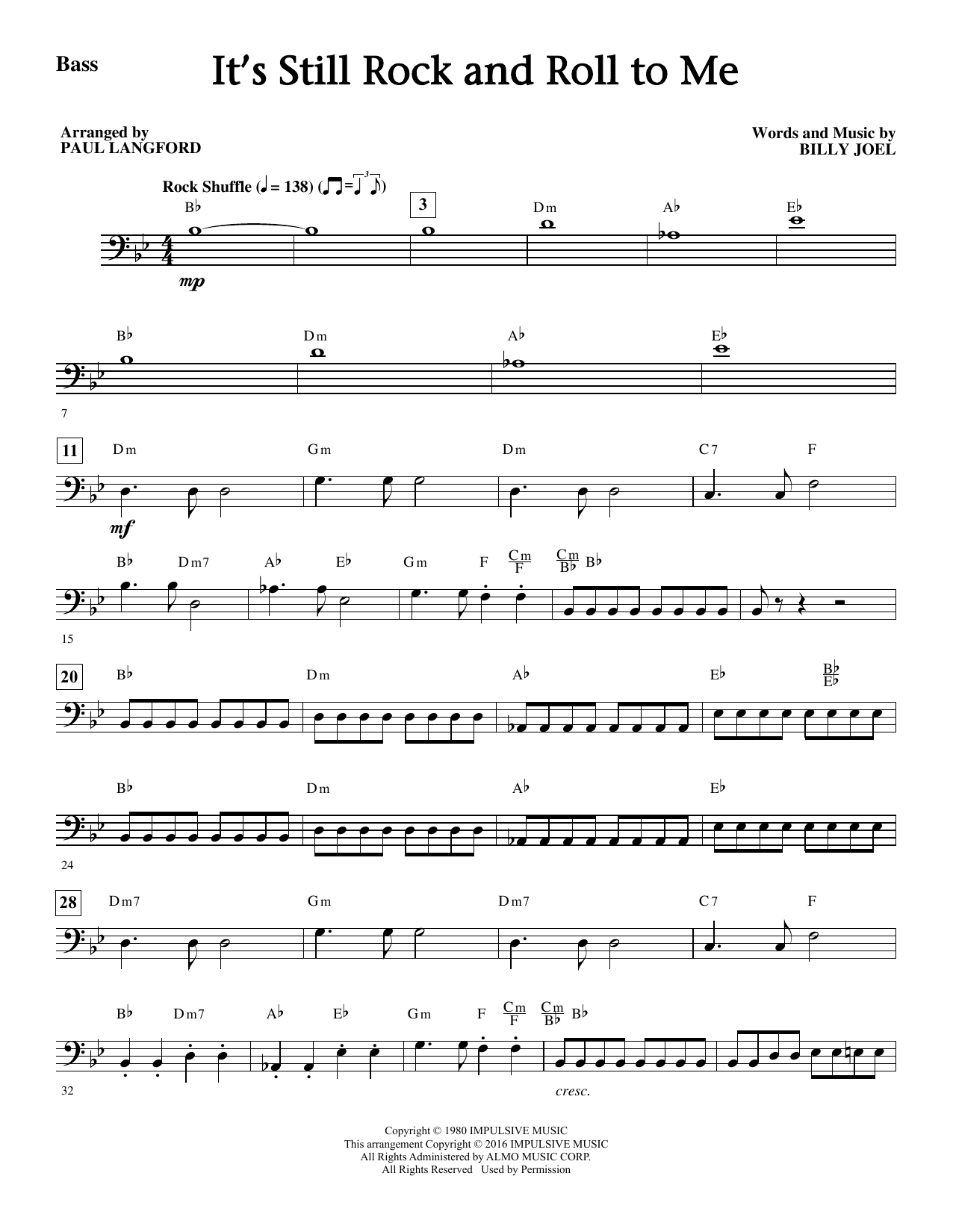 It's Still Rock And Roll To Me - Bass Sheet Music