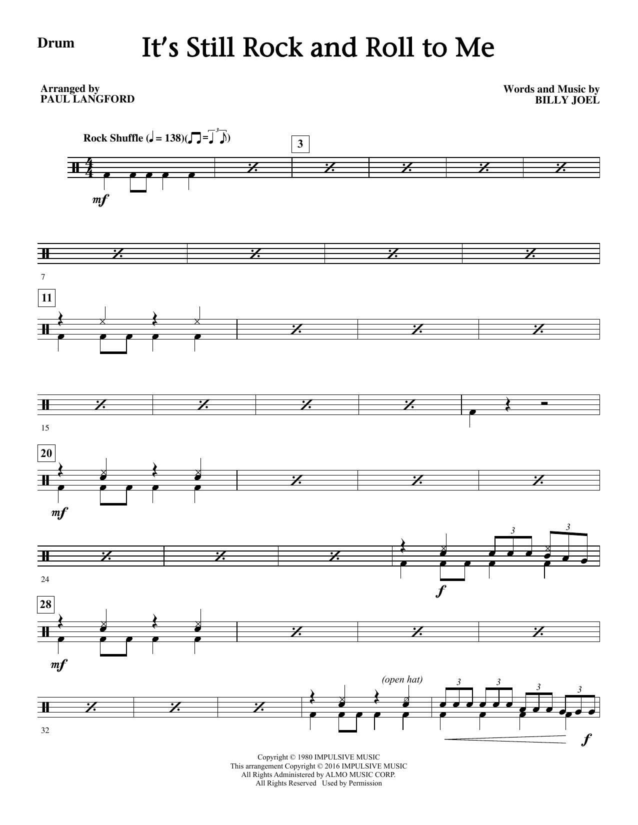 It's Still Rock And Roll To Me - Drums Sheet Music
