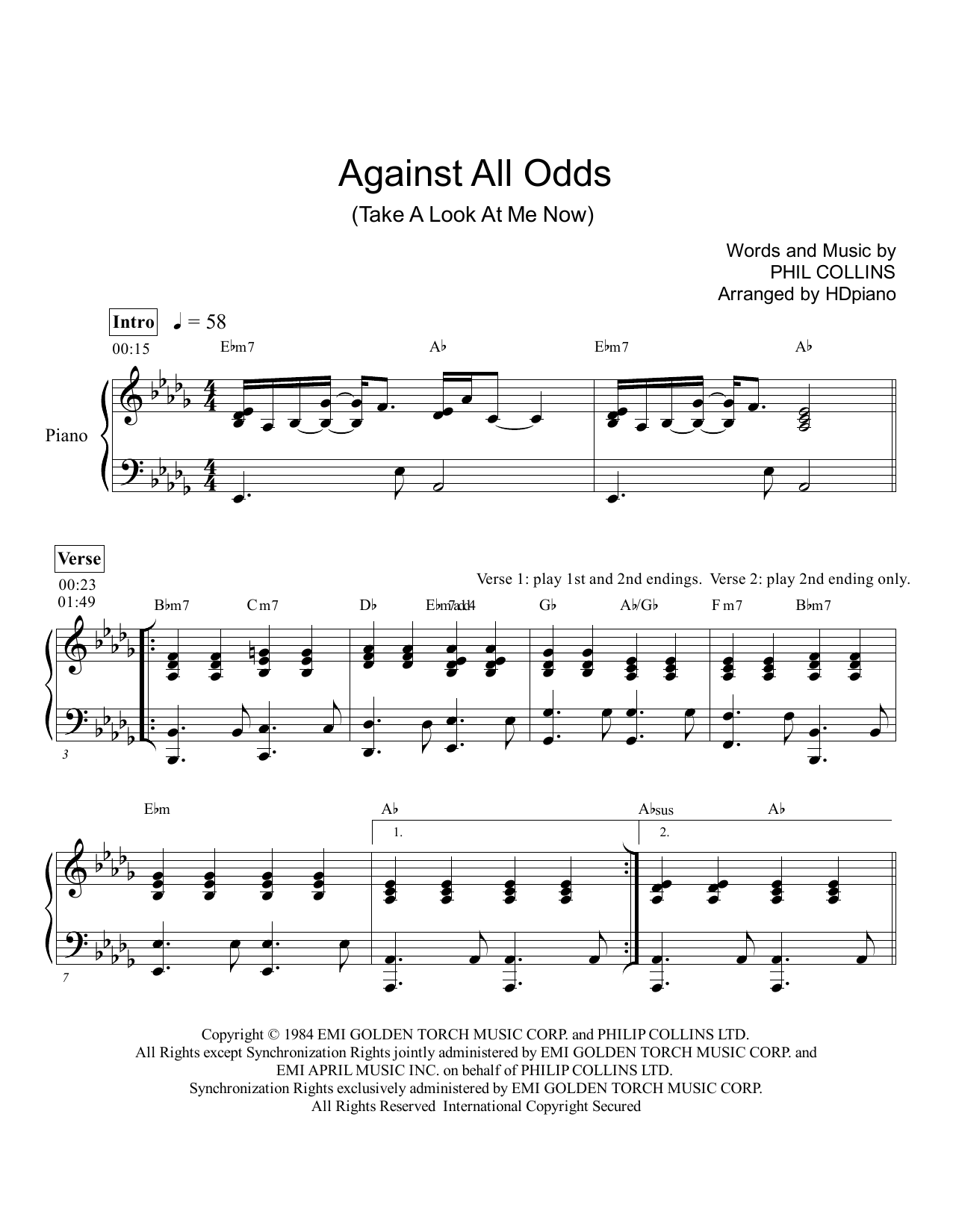 Against All Odds (Take a Look at Me Now) | Sheet Music Direct | 1276 x 1650 png 155kB