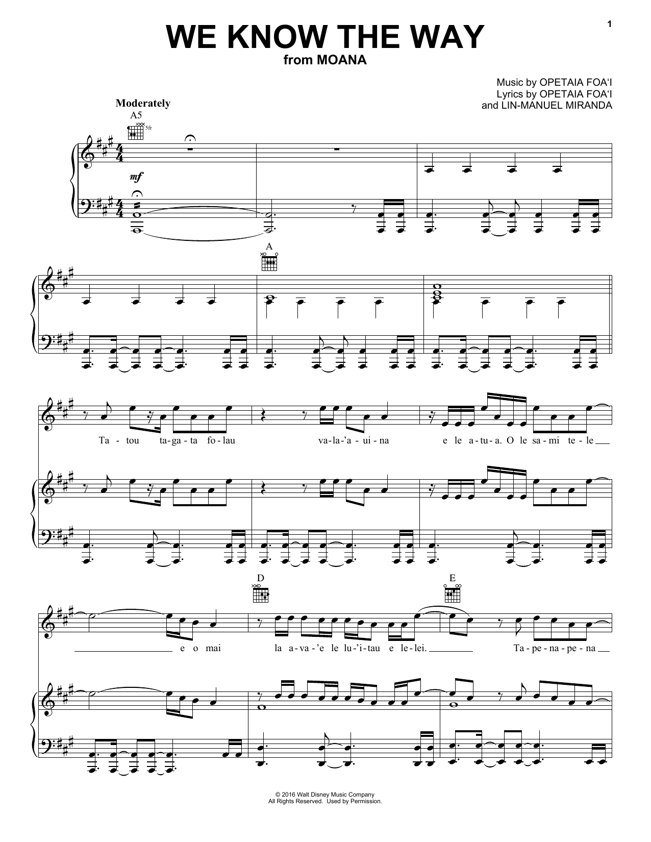 Partition piano We Know The Way de Lin-Manuel Miranda - Piano Voix Guitare (Mélodie Main Droite)