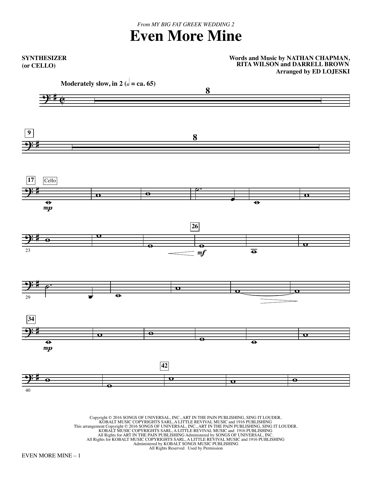 Even More Mine (complete set of parts) sheet music for orchestra/band by Ed Lojeski, Darrell Brown, Nathan Chapman and Rita Wilson. Score Image Preview.