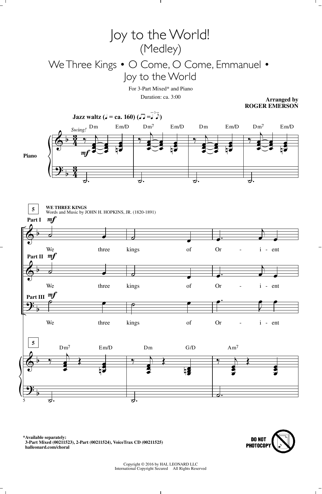 Joy To The World! (Medley) (3-Part Mixed Choir)