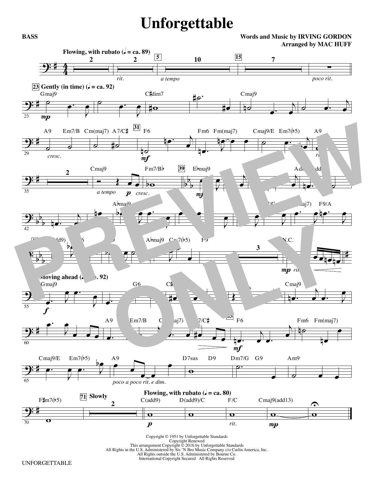 Unforgettable - Bass Sheet Music