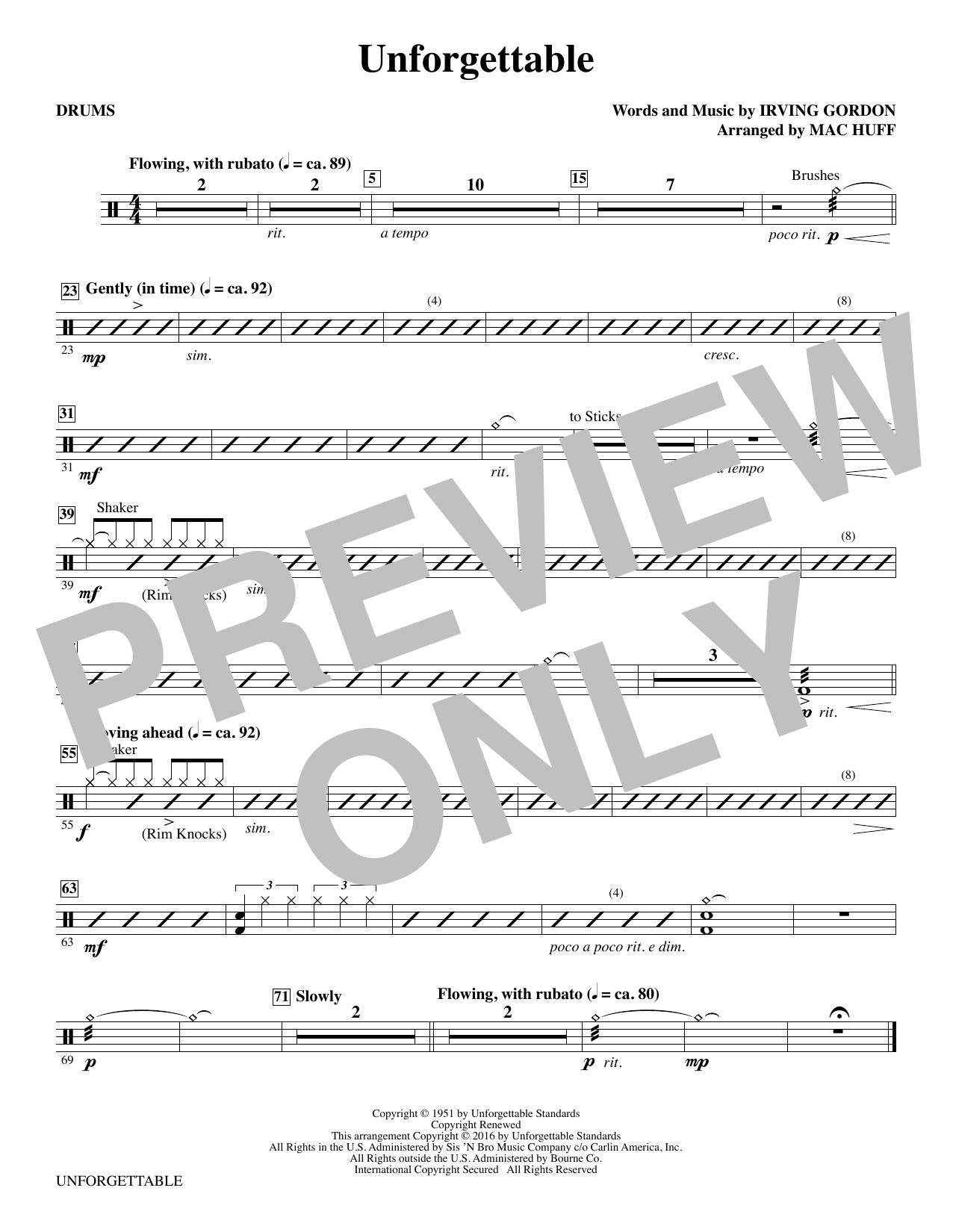 Unforgettable - Drums Sheet Music