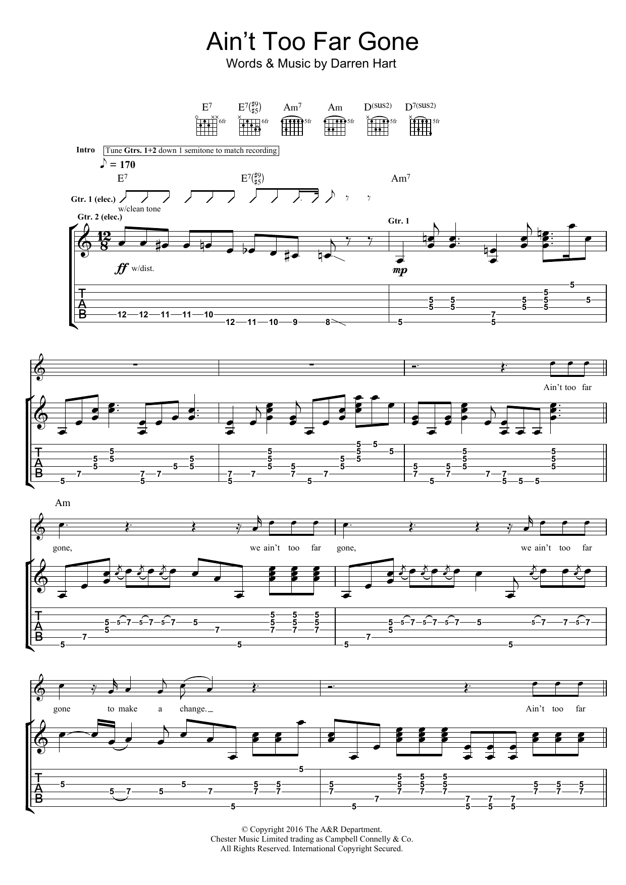 Ain't Too Far Gone Sheet Music