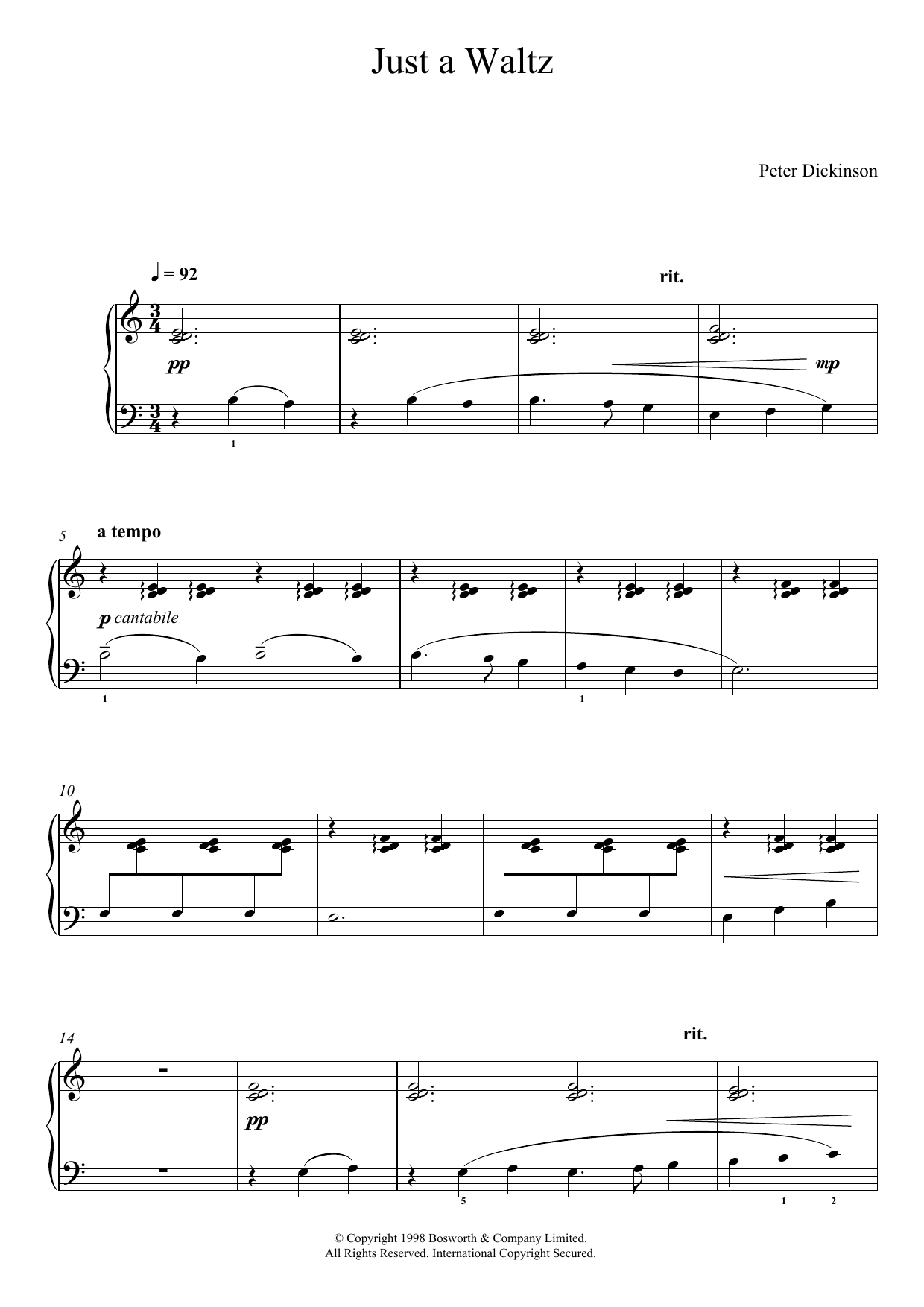 Just A Waltz (From 'Eight Very Easy Pieces For Piano') Sheet Music