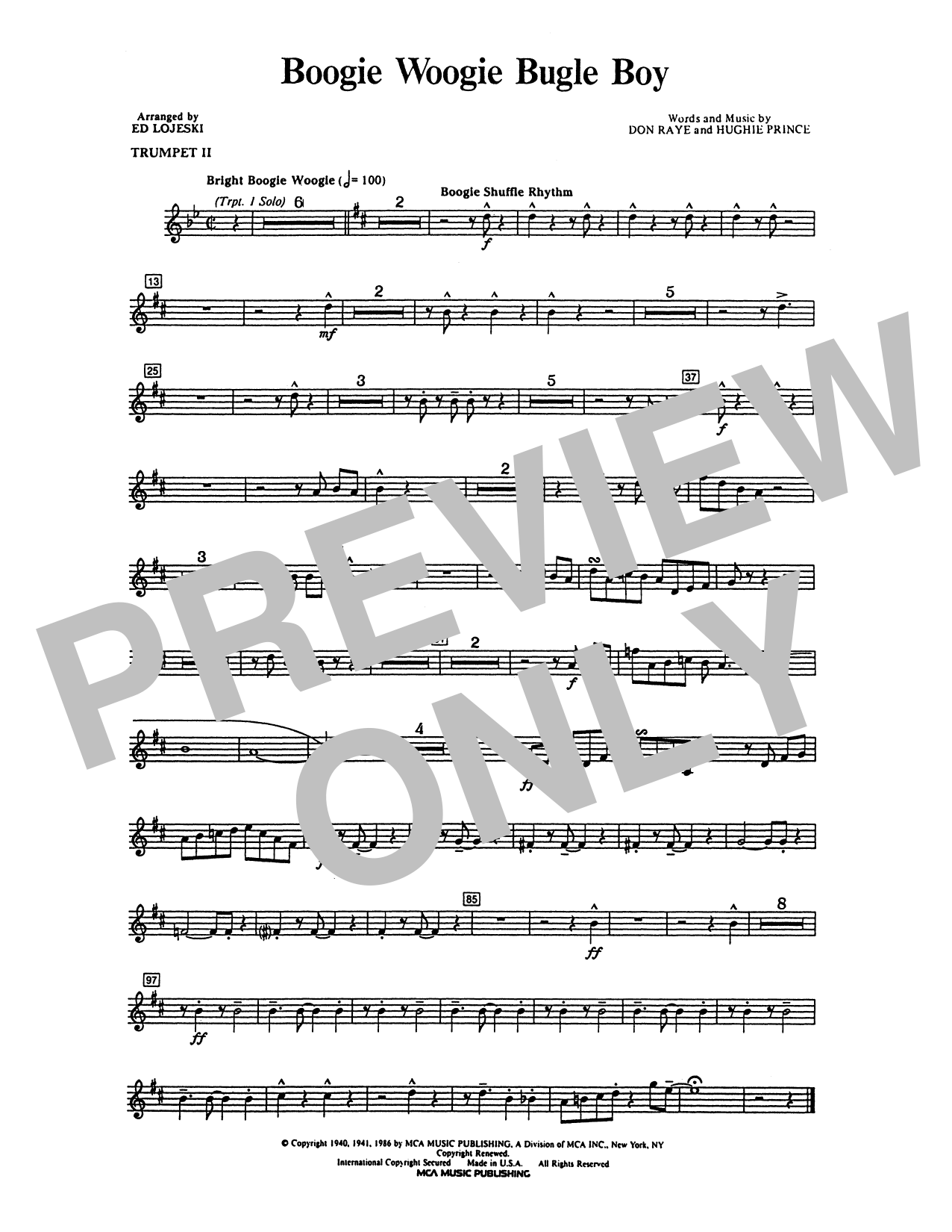 Boogie Woogie Bugle Boy - Trumpet 2 in Bb Sheet Music