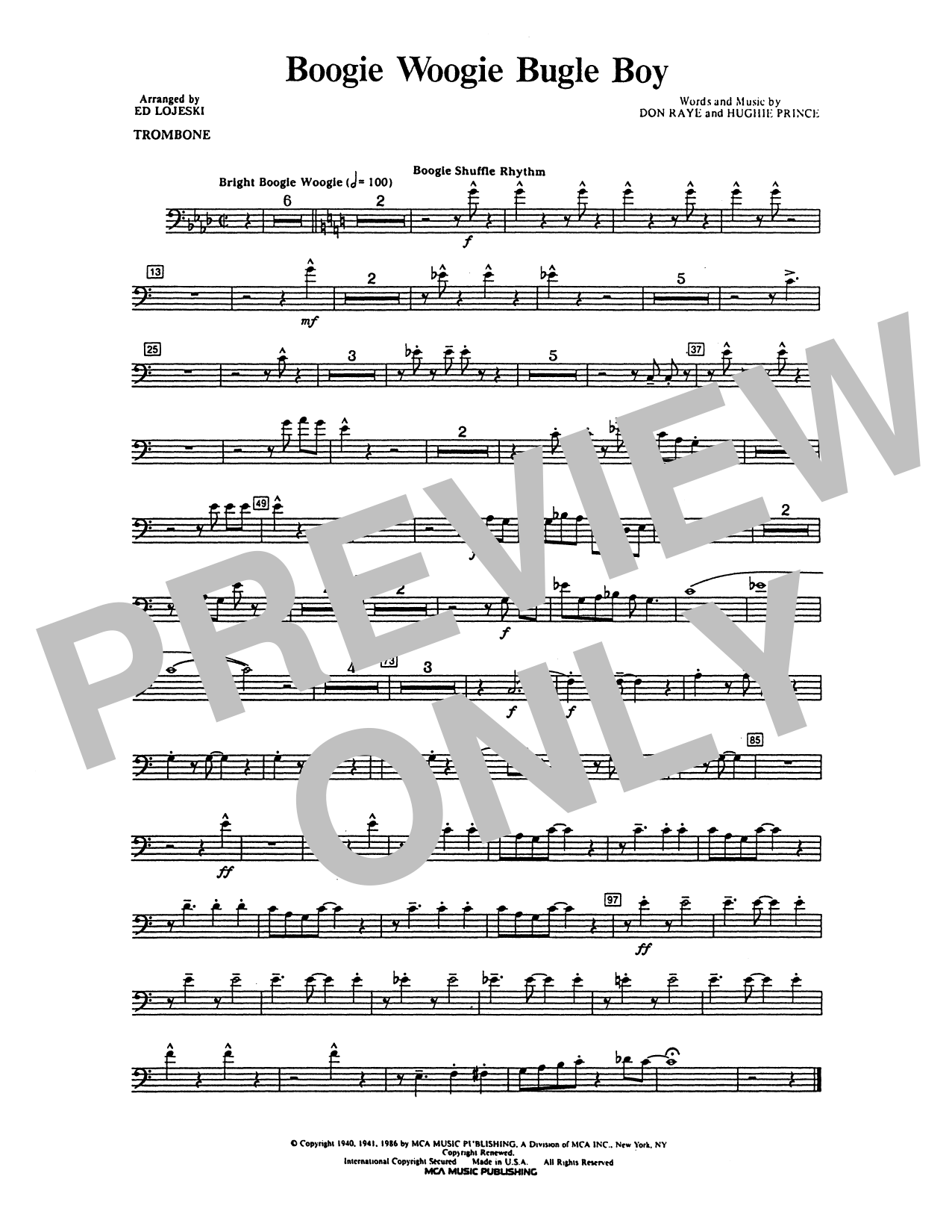 Boogie Woogie Bugle Boy - Trombone Sheet Music