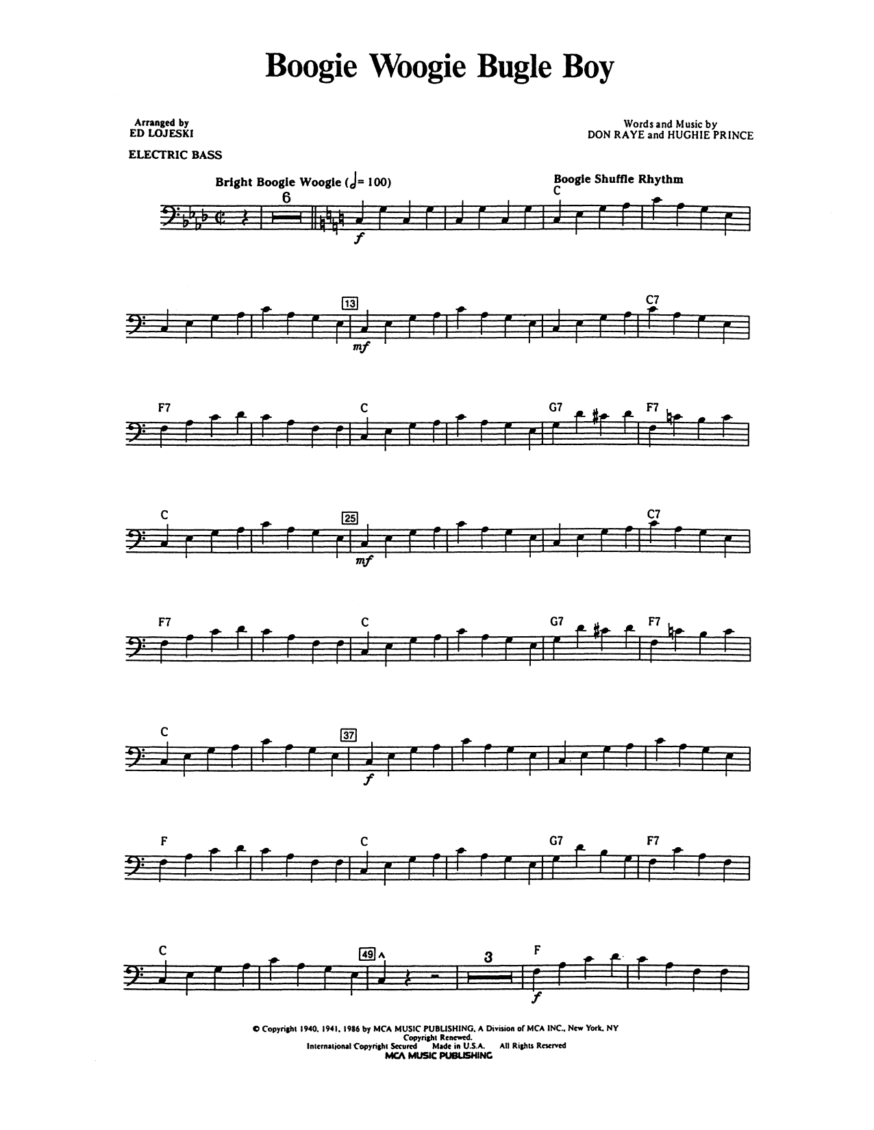 Boogie Woogie Bugle Boy - Electric Bass Sheet Music