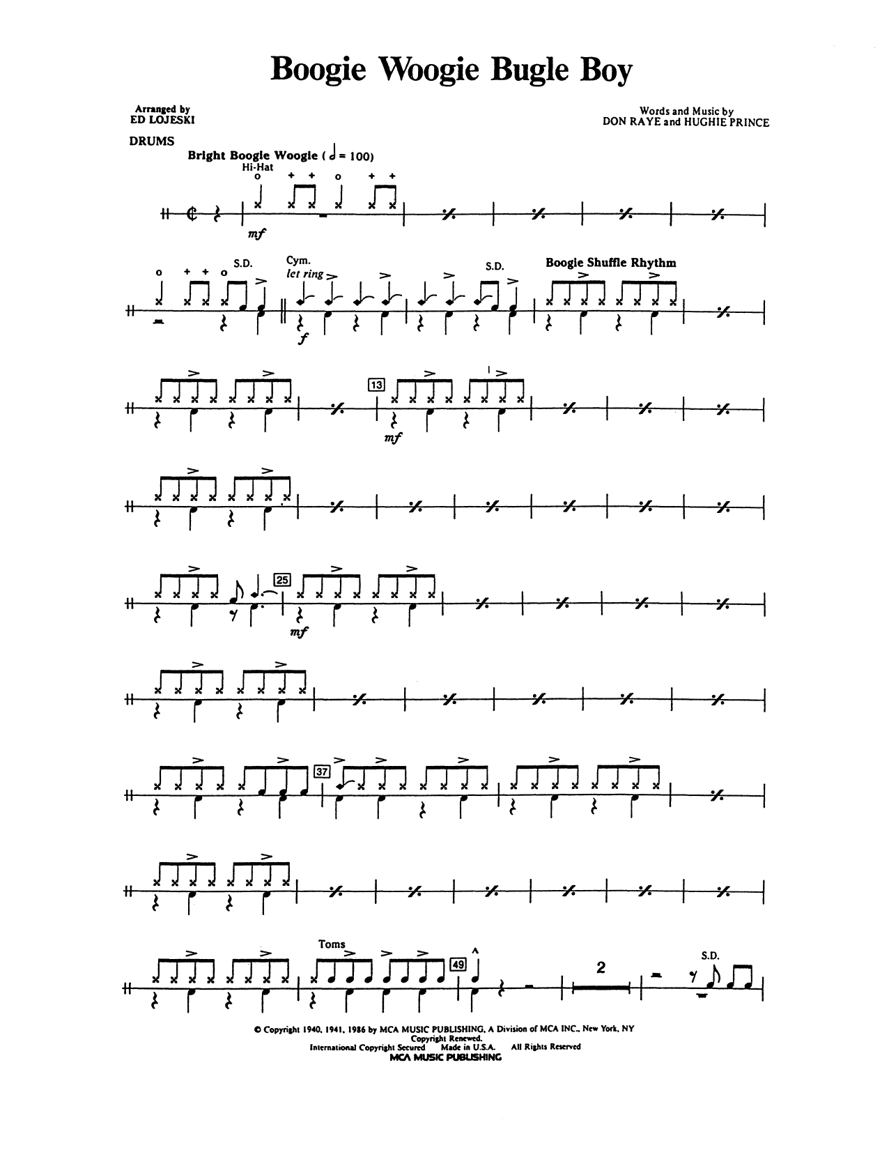 Boogie Woogie Bugle Boy - Drum Set Sheet Music