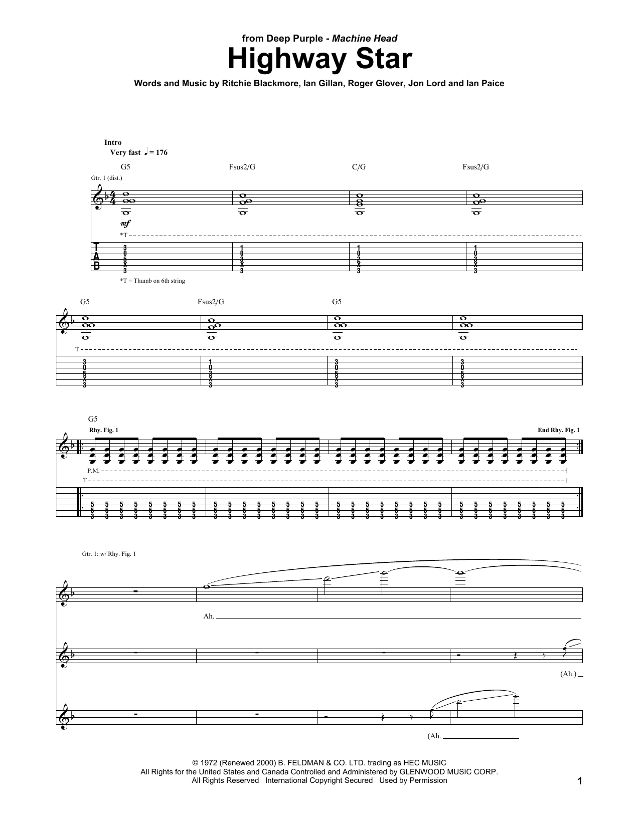 Tablature guitare Highway Star de Deep Purple - Tablature Guitare