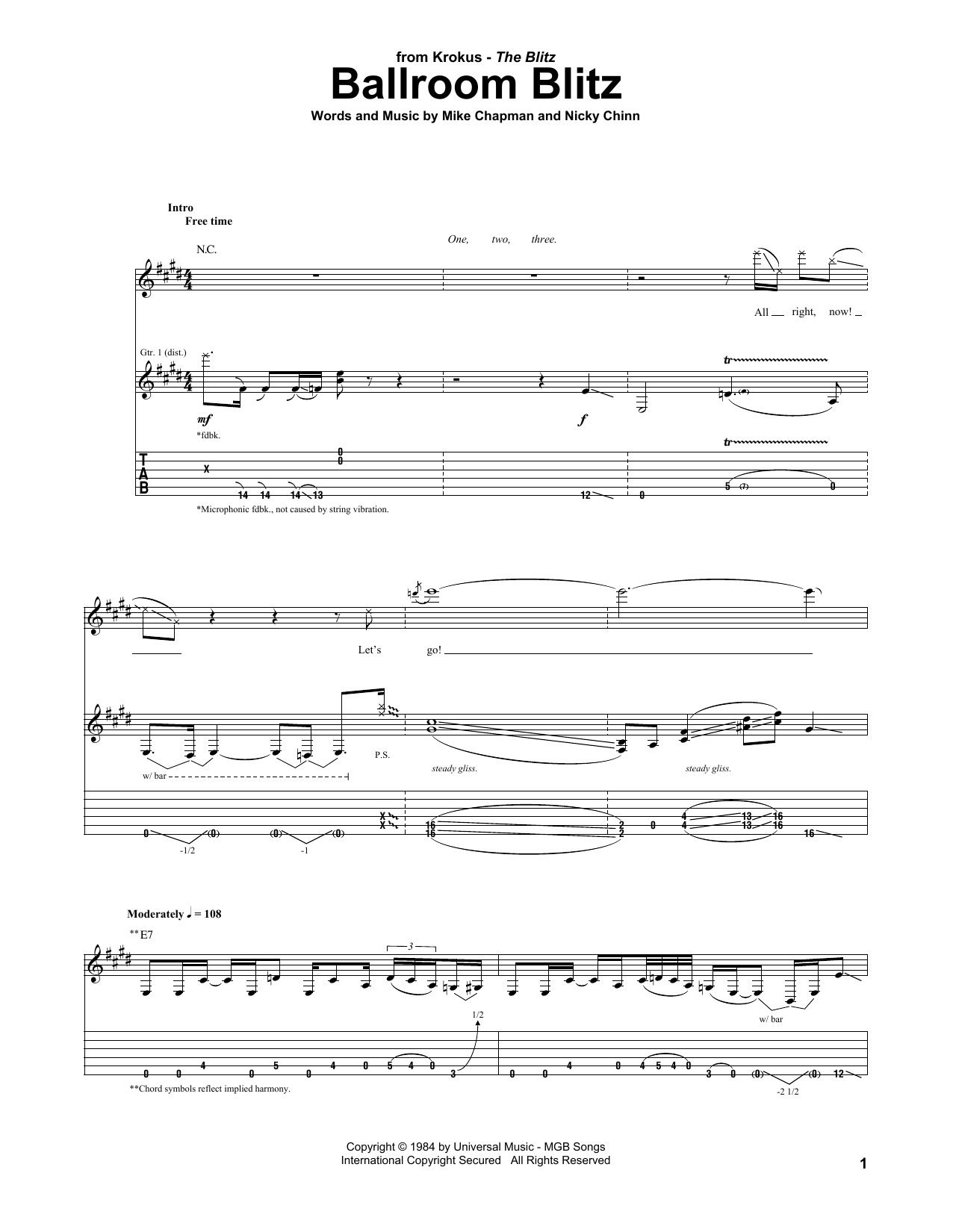 Ballroom Blitz (Guitar Tab)
