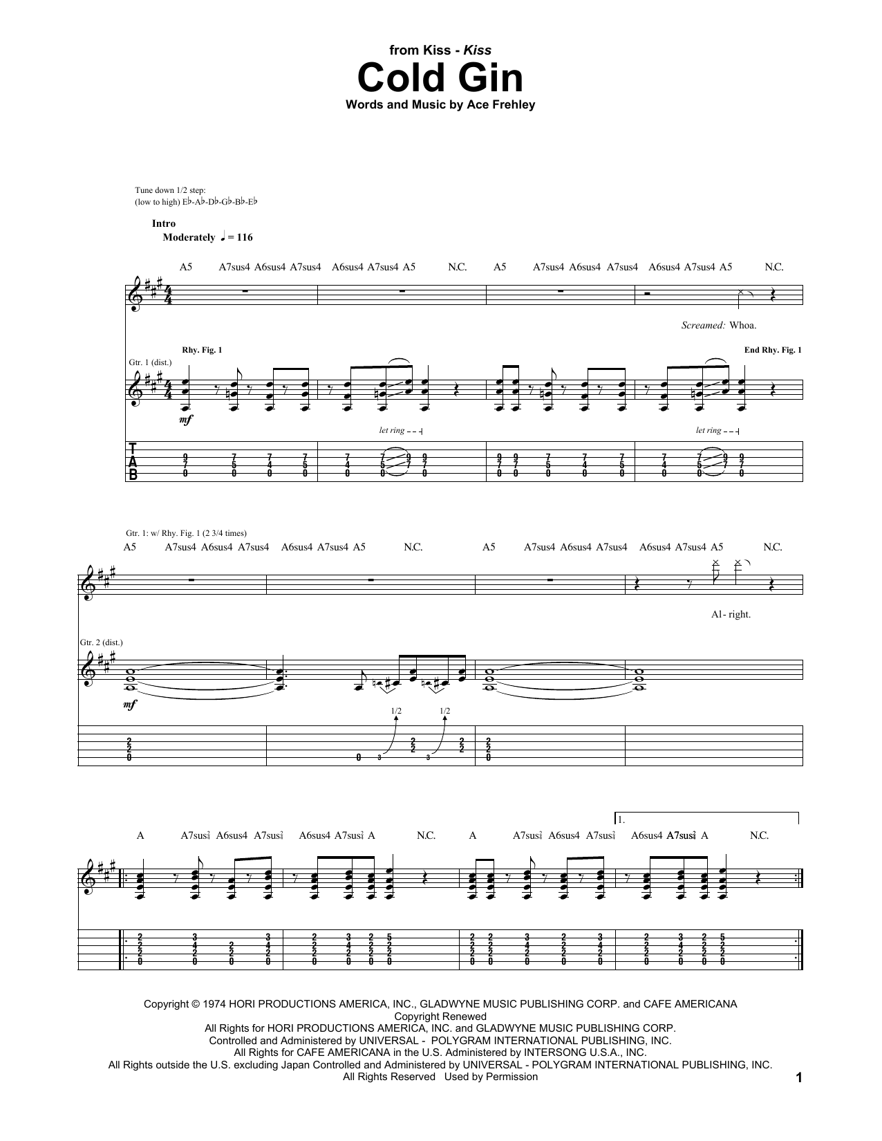 Tablature guitare Cold Gin de KISS - Tablature Guitare