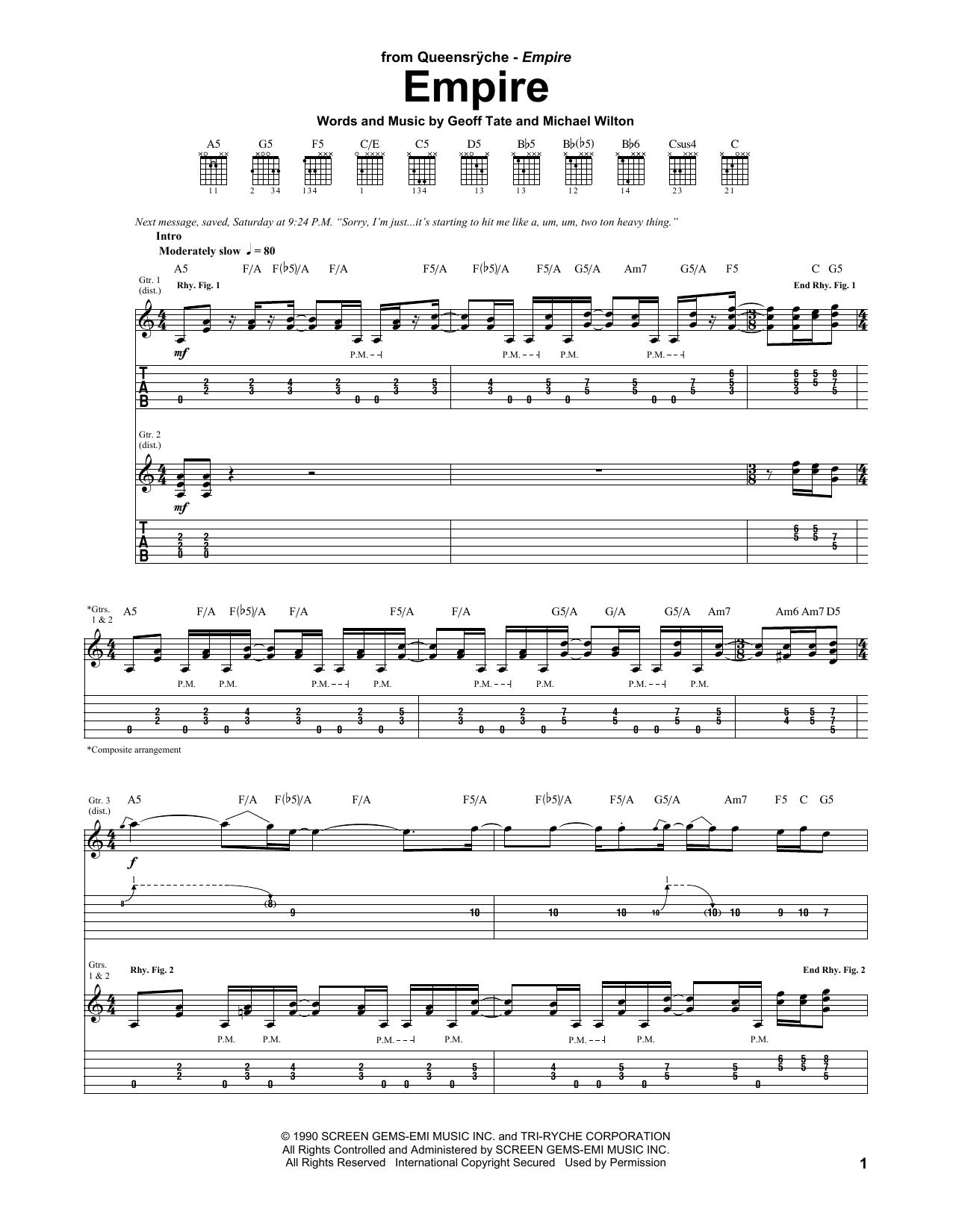 Tablature guitare Empire de Queensryche - Tablature Guitare