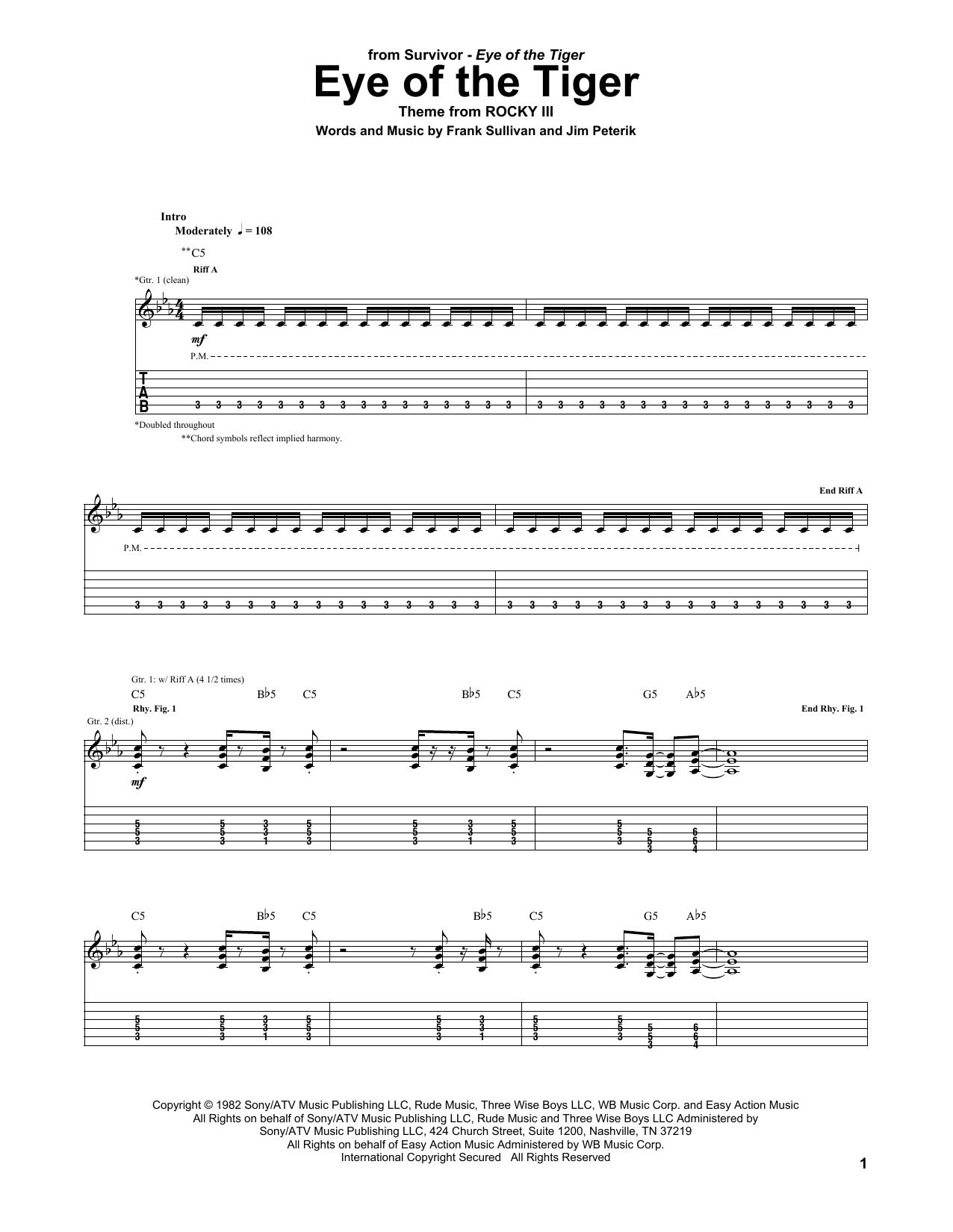 Eye Of The Tiger Sheet Music Survivor Guitar Tab