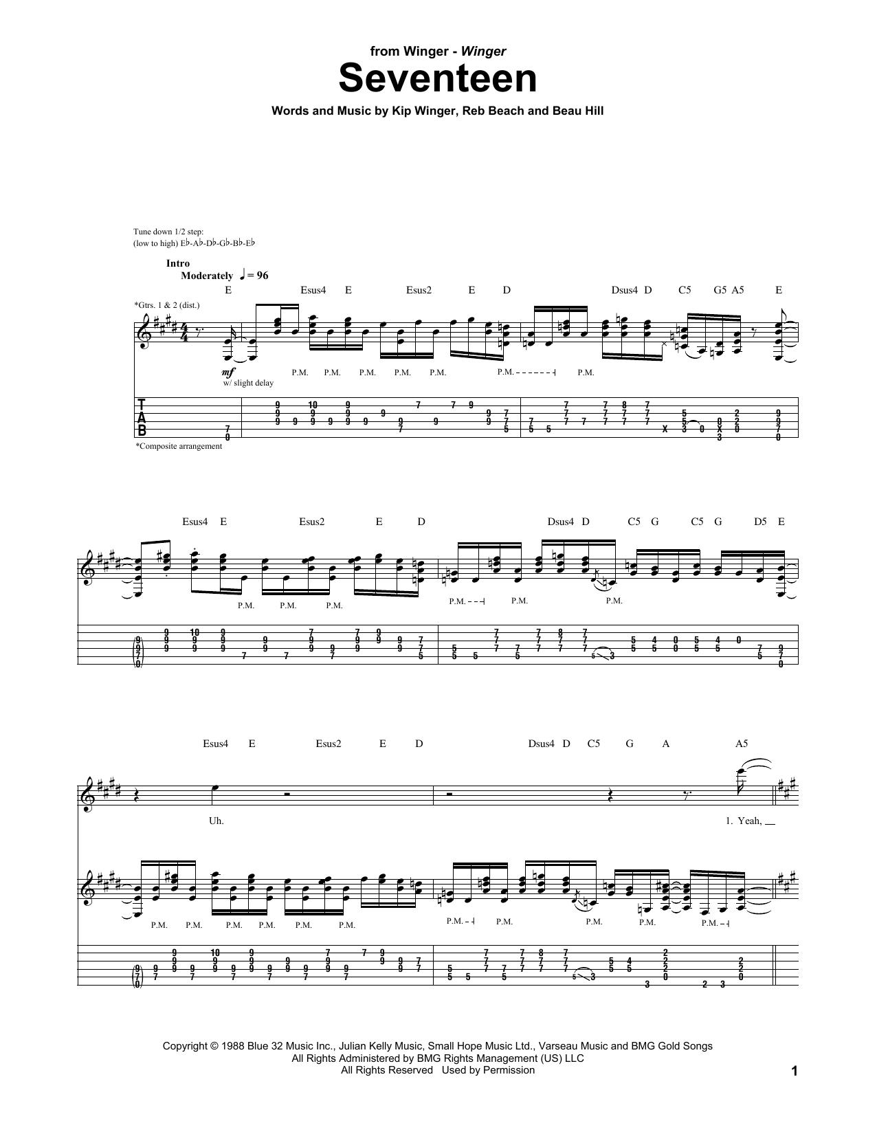 Tablature guitare Seventeen de Winger - Tablature Guitare