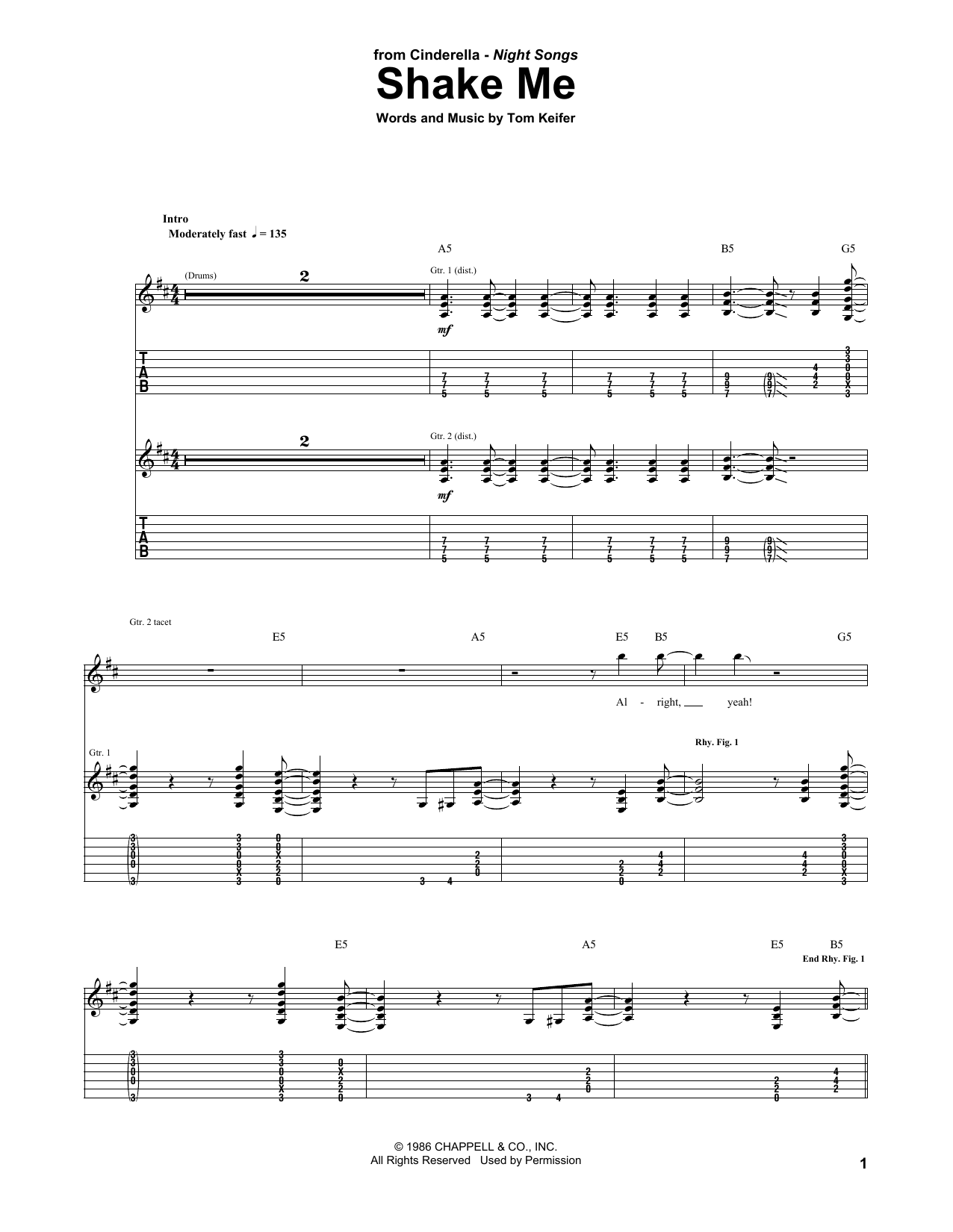 Shake Me (Guitar Tab)