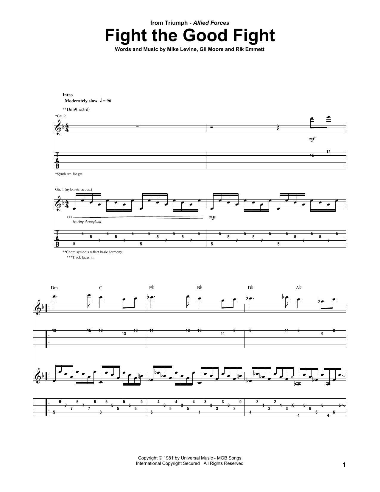 Tablature guitare Fight The Good Fight de Triumph - Tablature Guitare