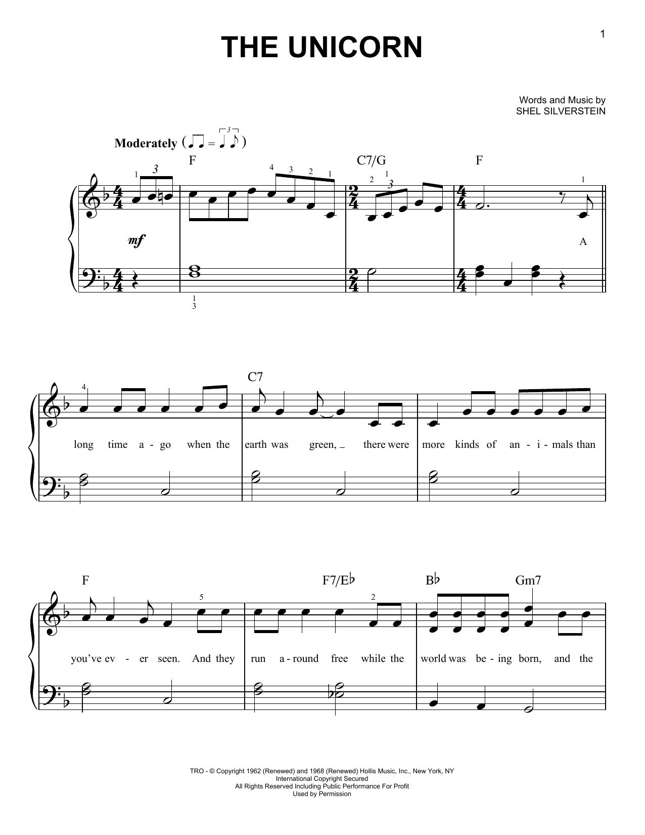 Partition piano The Unicorn de Irish Rovers - Piano Facile