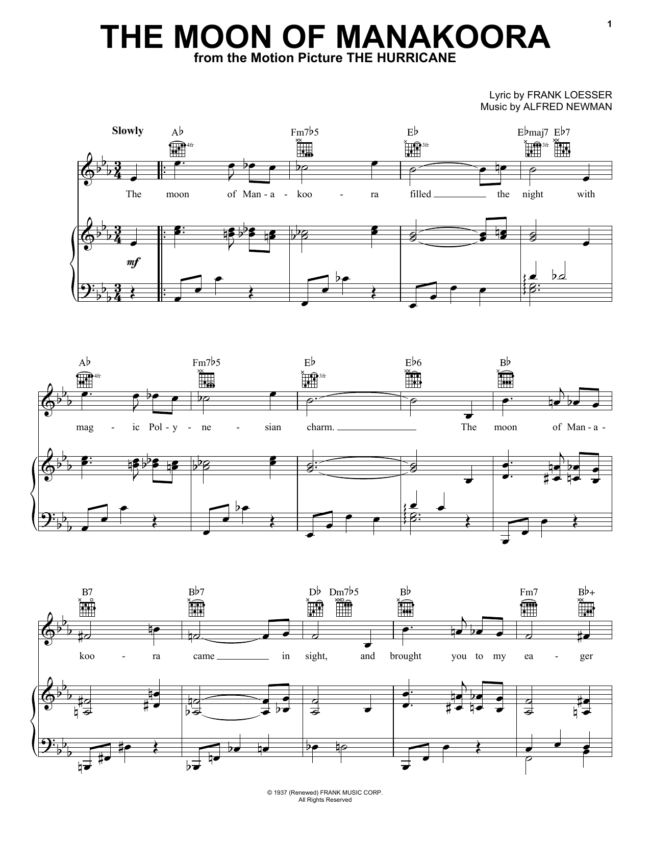The Moon Of Manakoora (Piano, Vocal & Guitar (Right-Hand Melody))