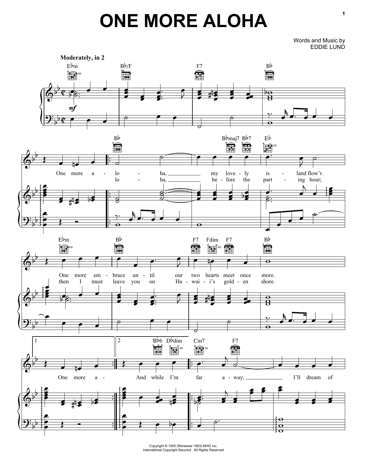 One More Aloha (Piano, Vocal & Guitar (Right-Hand Melody))