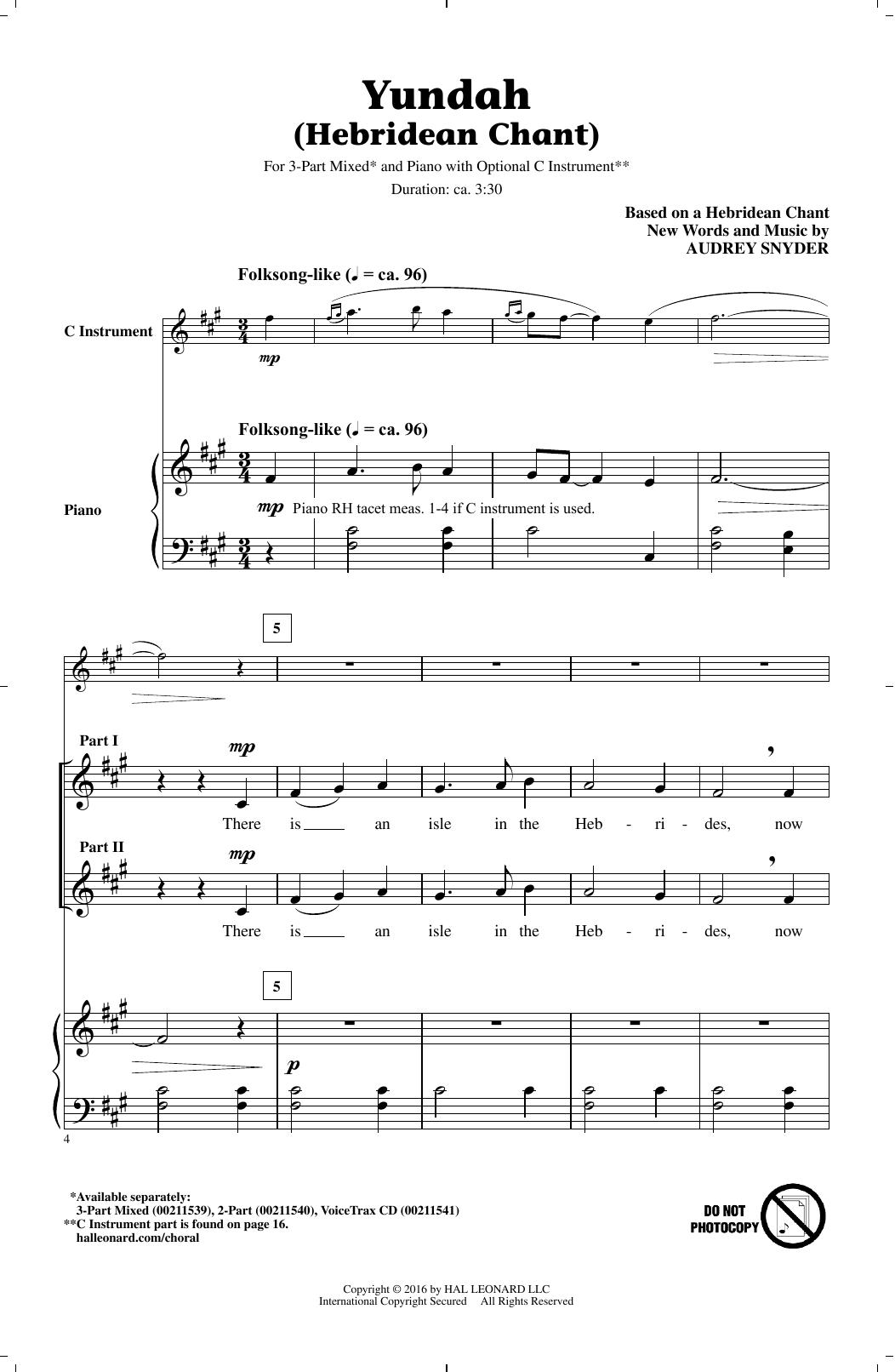 Yundah (Hebridean Chant) (3-Part Mixed Choir)