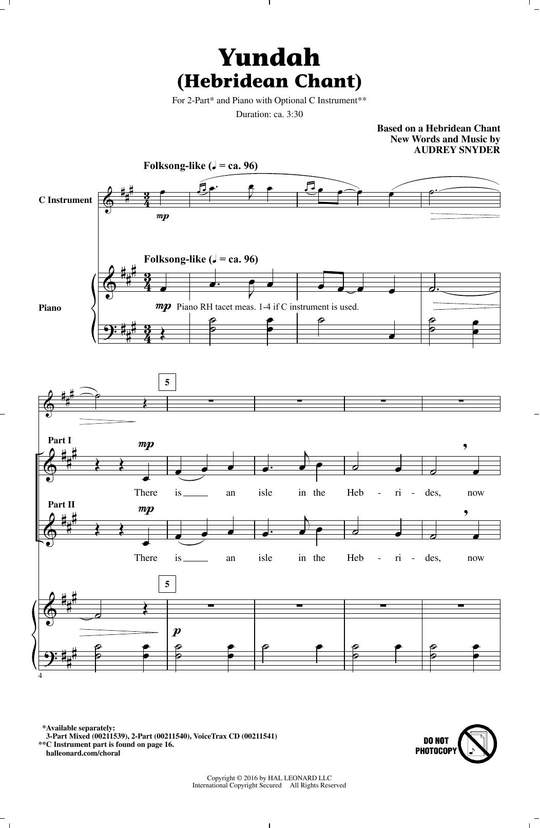 Yundah (Hebridean Chant) (2-Part Choir)