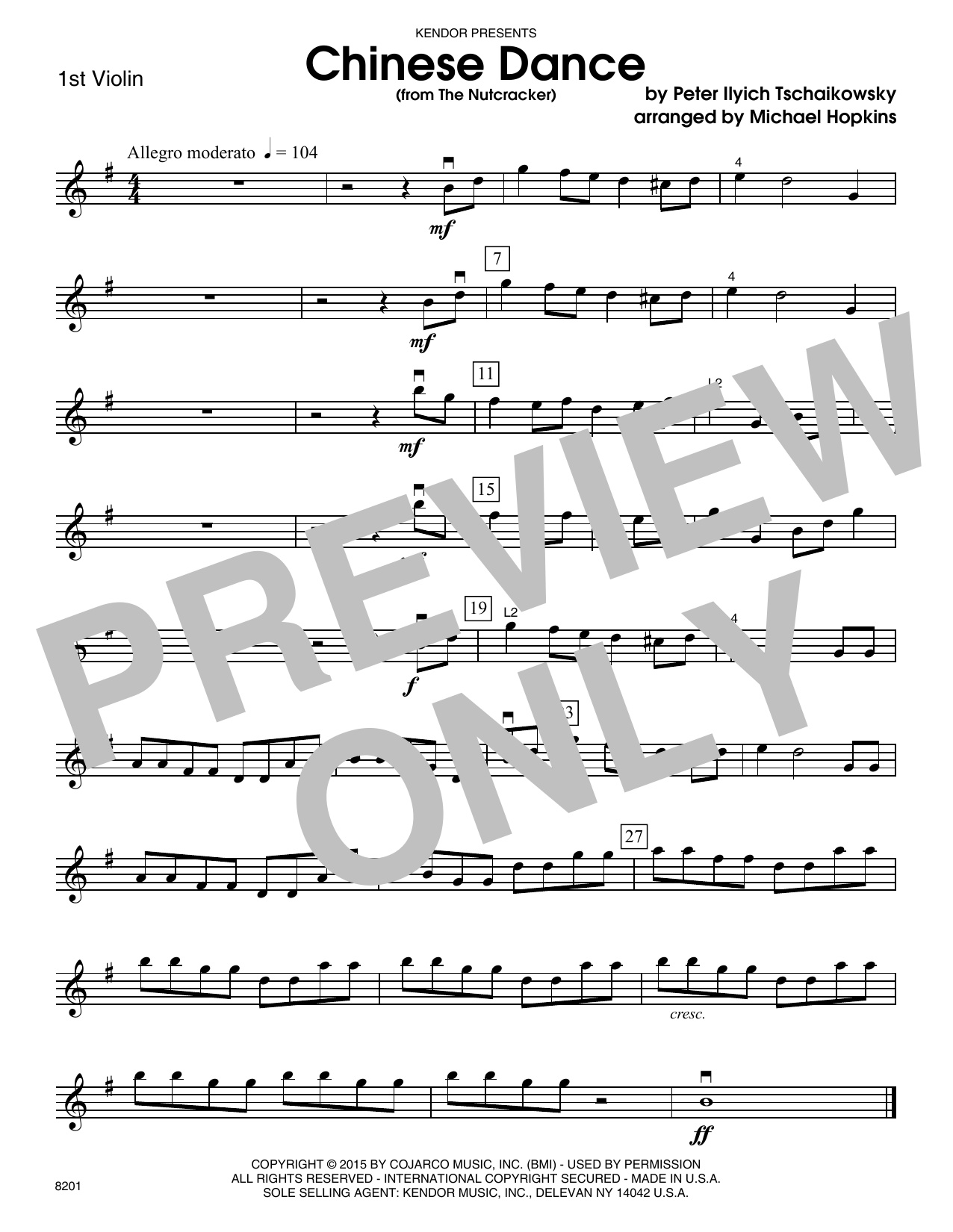 Chinese Dance (from The Nutcracker) - 1st Violin Sheet Music