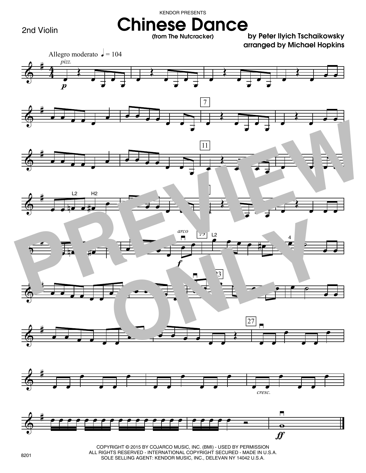 Chinese Dance (from The Nutcracker) - 2nd Violin Sheet Music