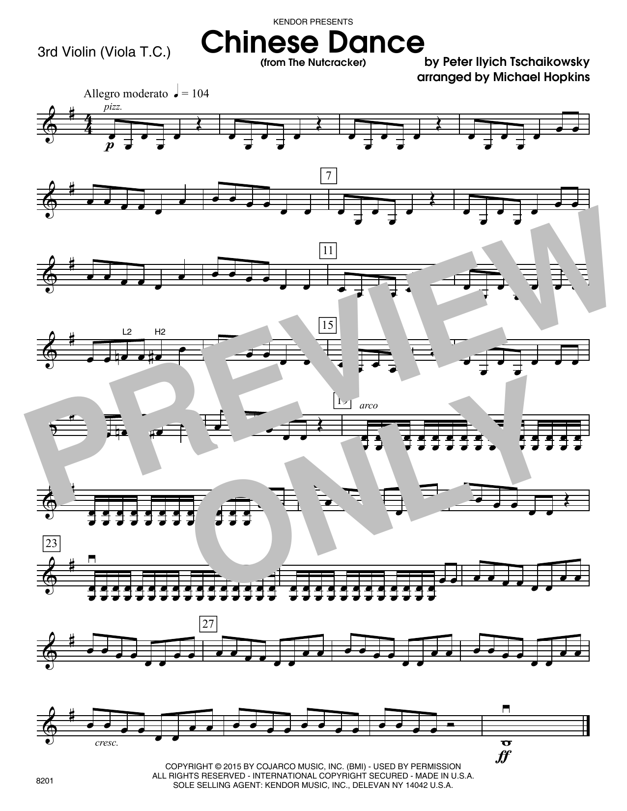 Chinese Dance (from The Nutcracker) - Violin 3 (Viola T.C.) Sheet Music