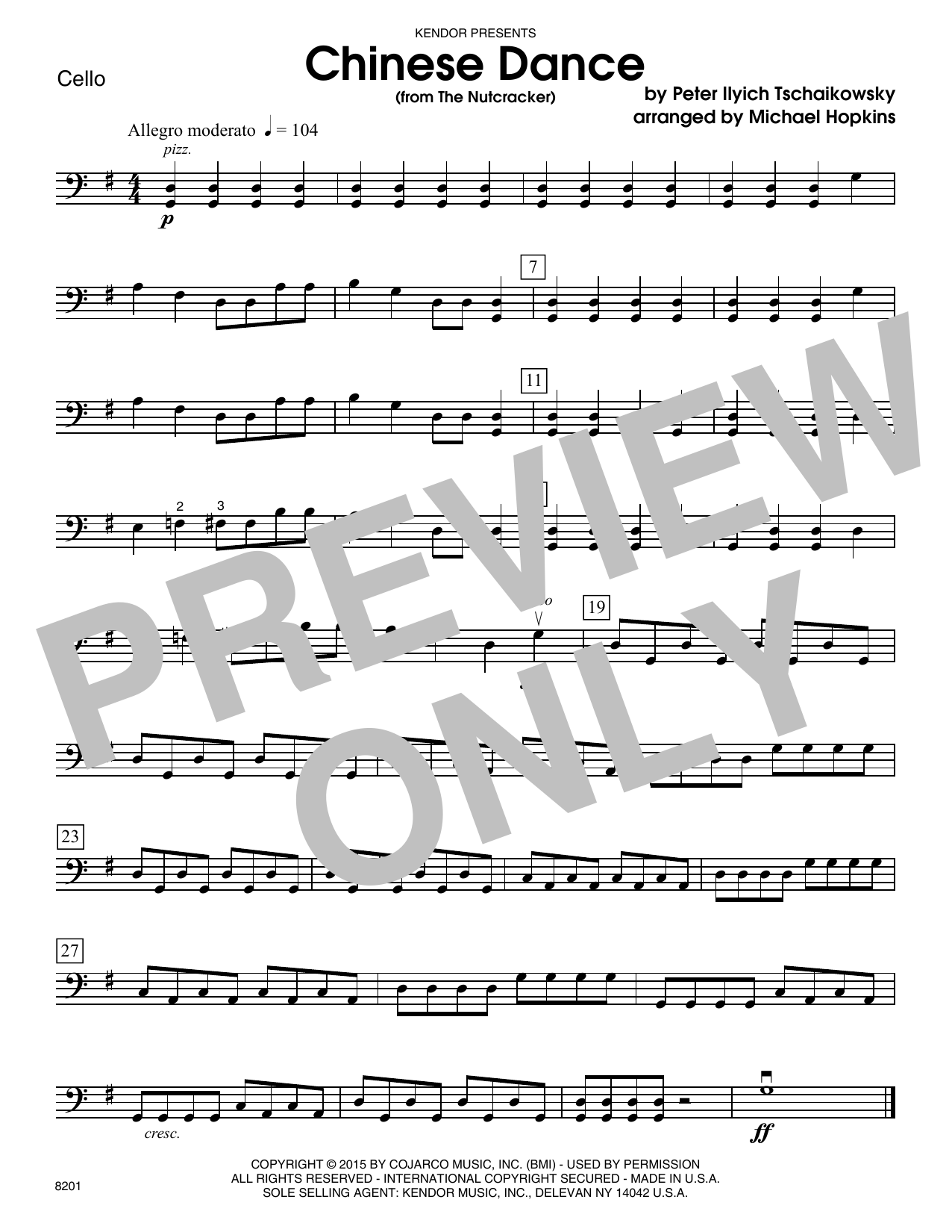 Chinese Dance (from The Nutcracker) - Cello Sheet Music