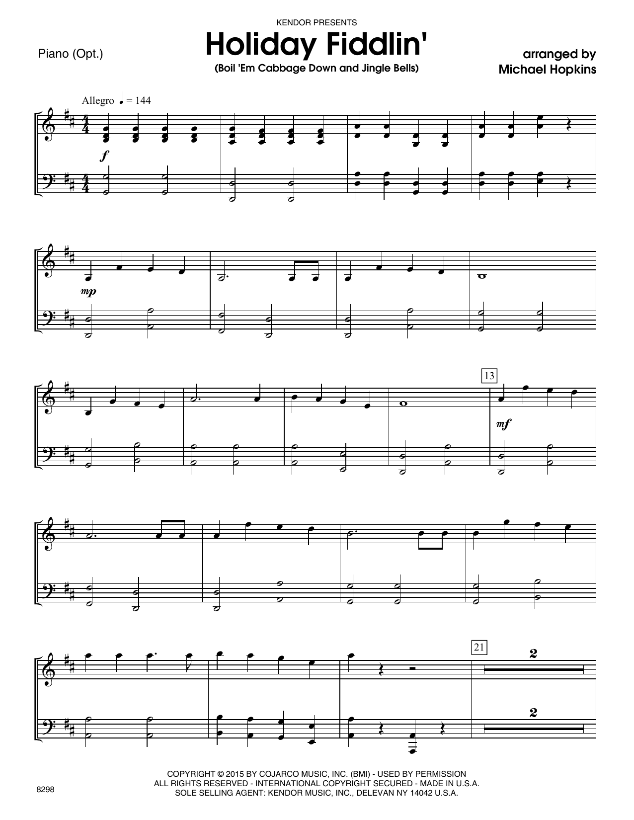 Holiday Fiddlin' (Boil 'Em Cabbage Down and Jingle Bells) - Piano Accompaniment Sheet Music