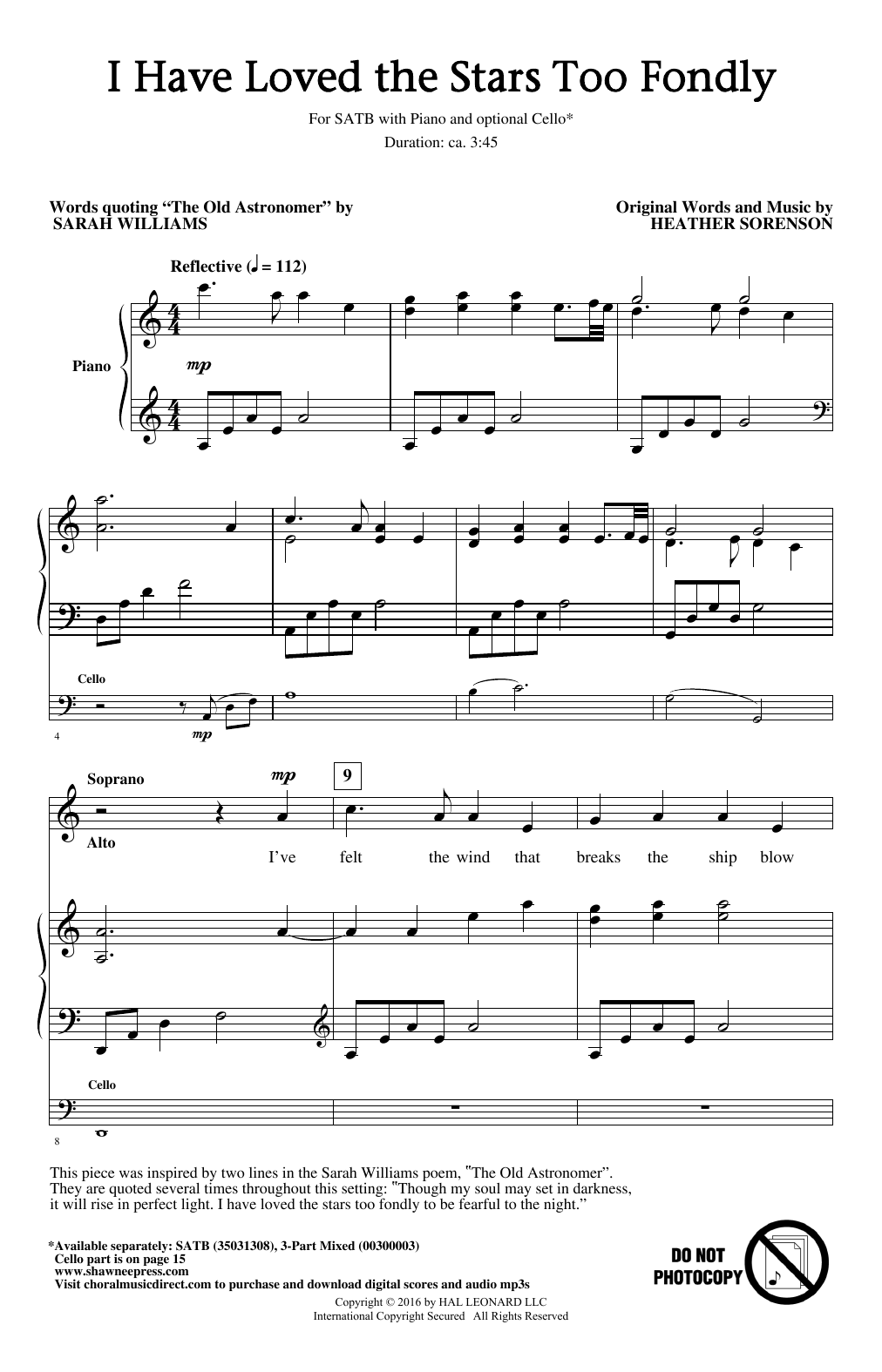 Partition chorale I Have Loved The Stars Too Fondly de Heather Sorenson - SATB