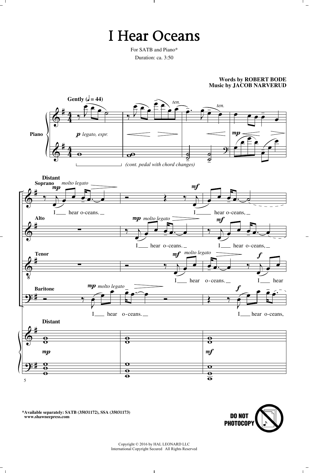 I Hear Oceans (SATB Choir)