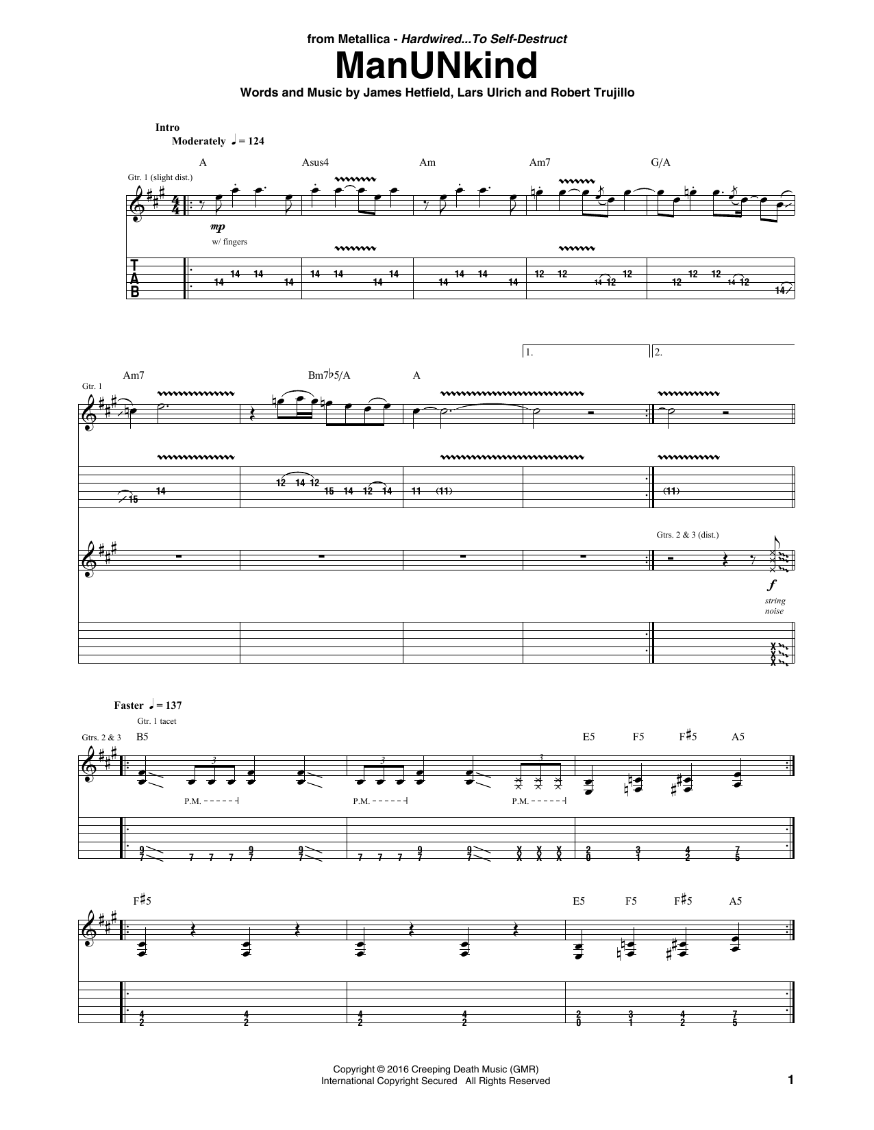 Manunkind guitar tab by metallica guitar tab 177637 manunkind sheet music hexwebz Image collections