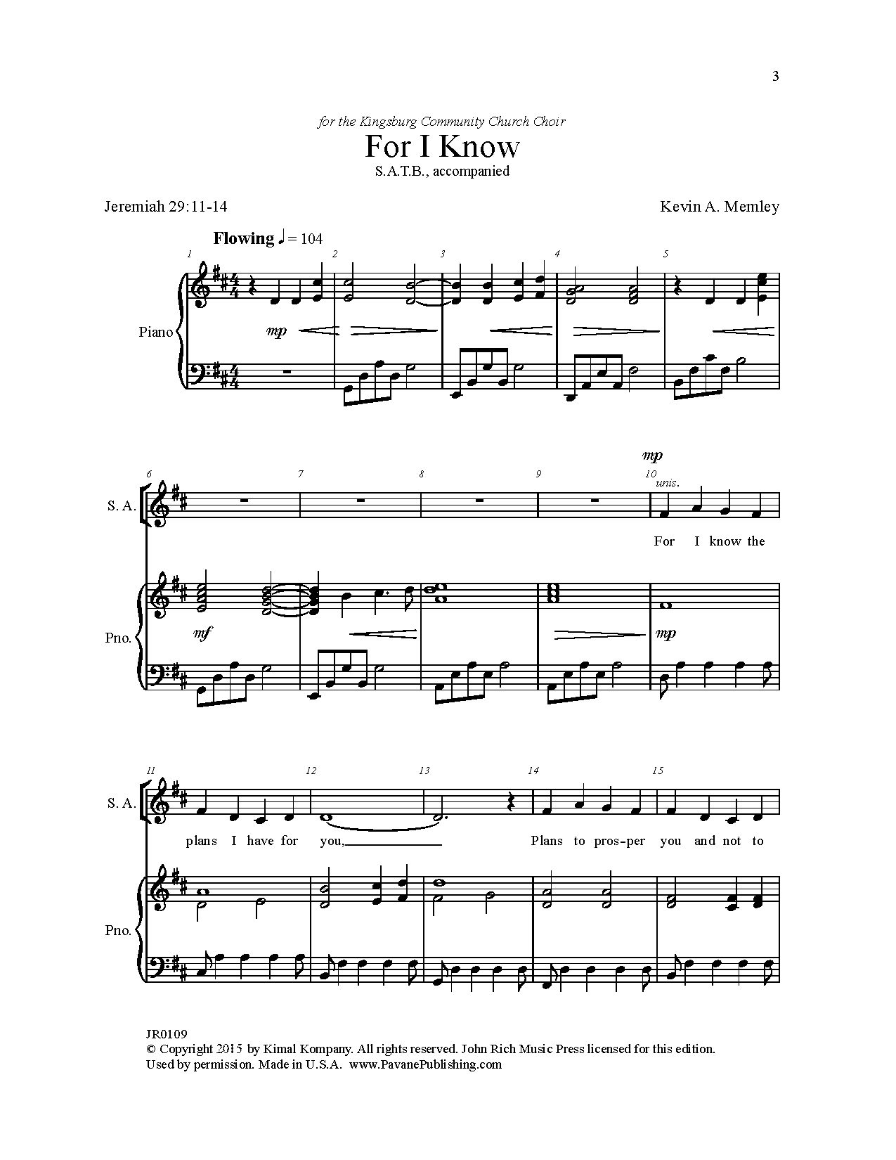 For I Know Sheet Music