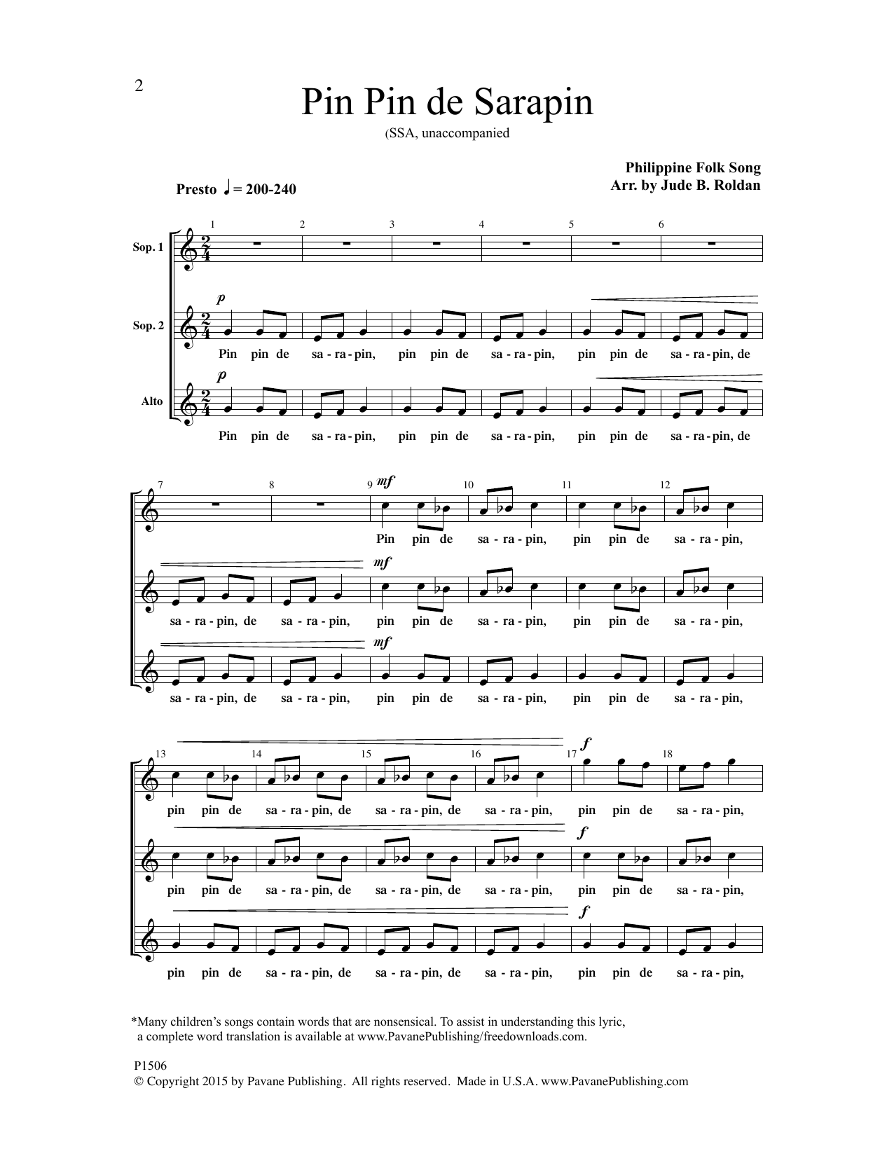 Pin Pin de Sarapin Sheet Music