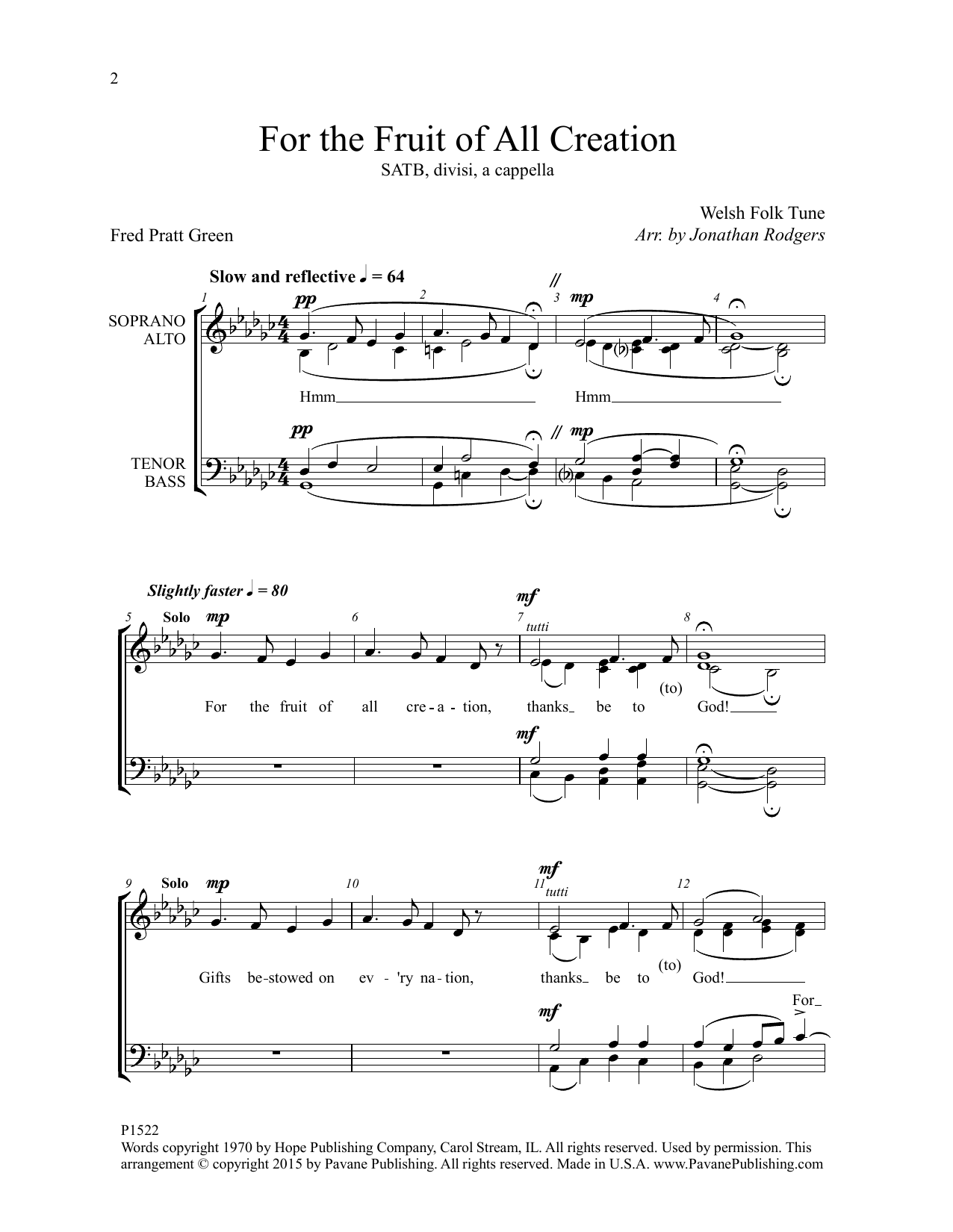 For the Fruit of All Creation Sheet Music