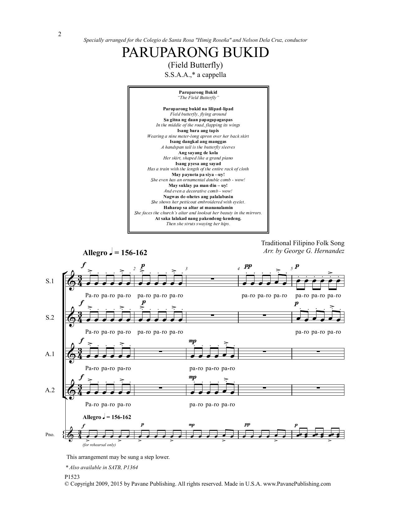 Paruparong Bukid Sheet Music
