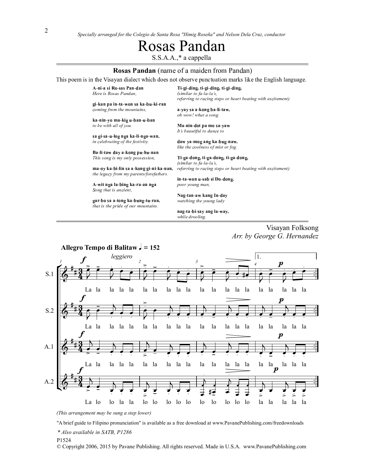 Rosas Pandan Sheet Music
