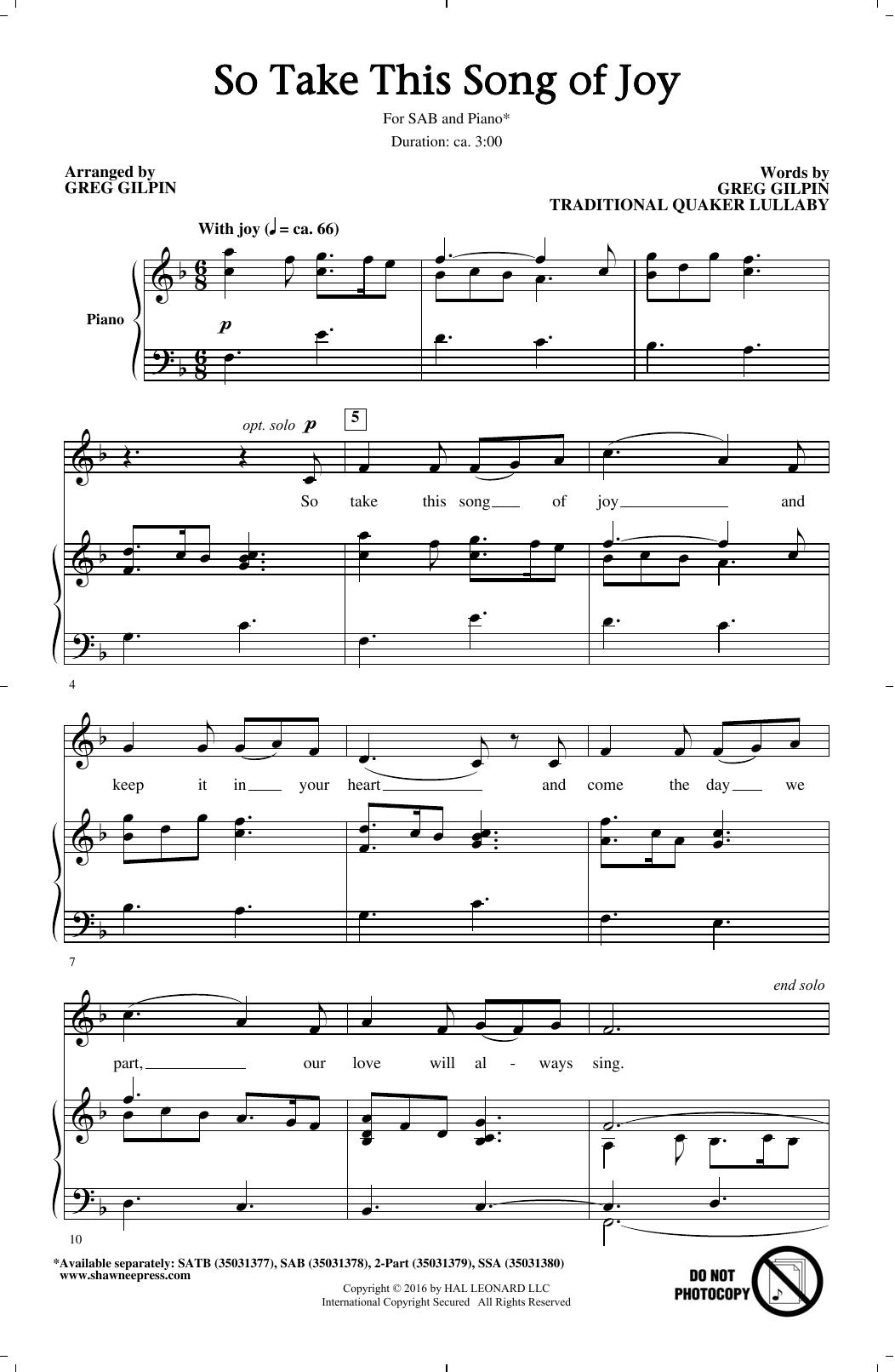 Partition chorale So Take This Song Of Joy de Greg Gilpin - SAB