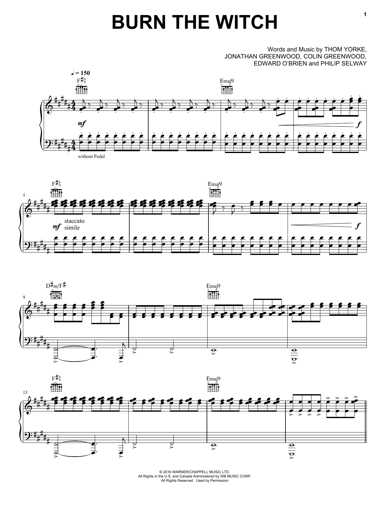 Burn The Witch (Piano, Vocal & Guitar (Right-Hand Melody))
