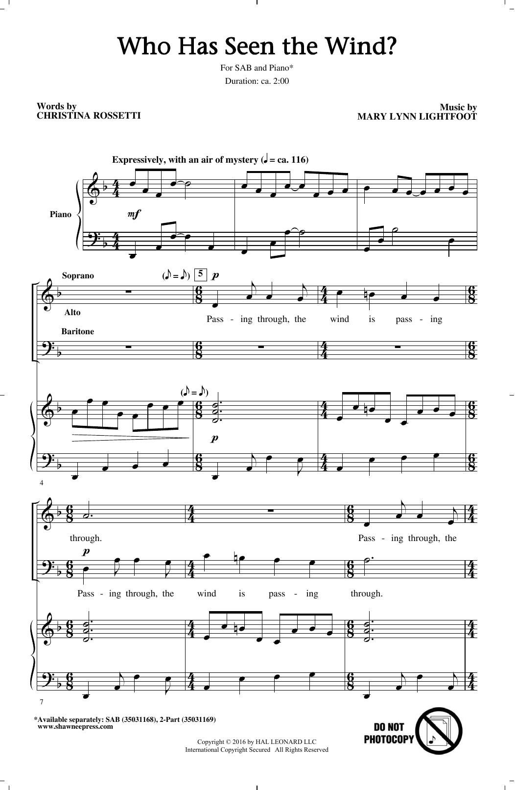 Who Has Seen The Wind? (SAB Choir)