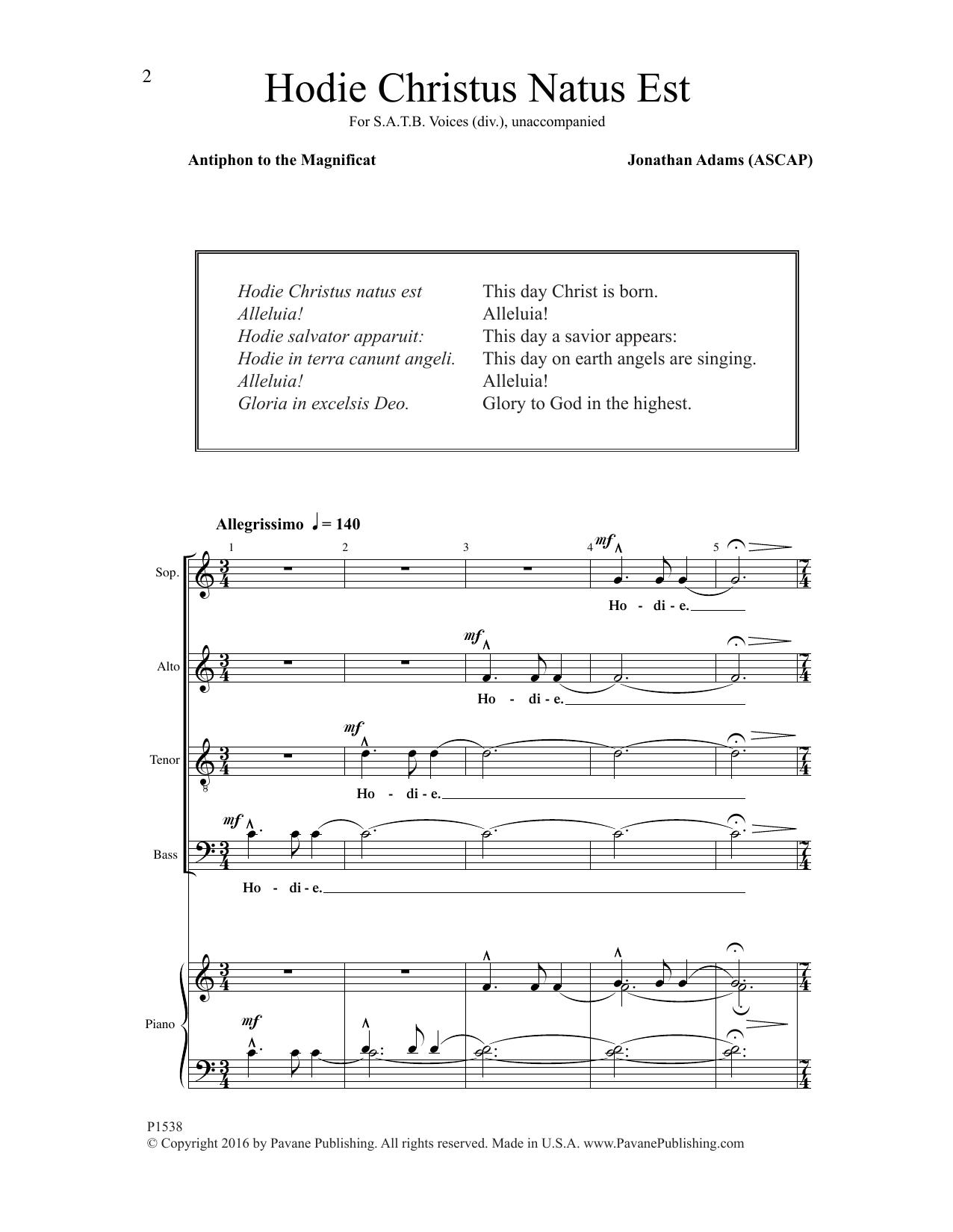 Hodie Christus natus est Sheet Music
