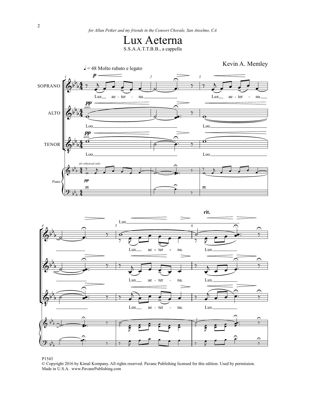 Lux Aeterna Sheet Music