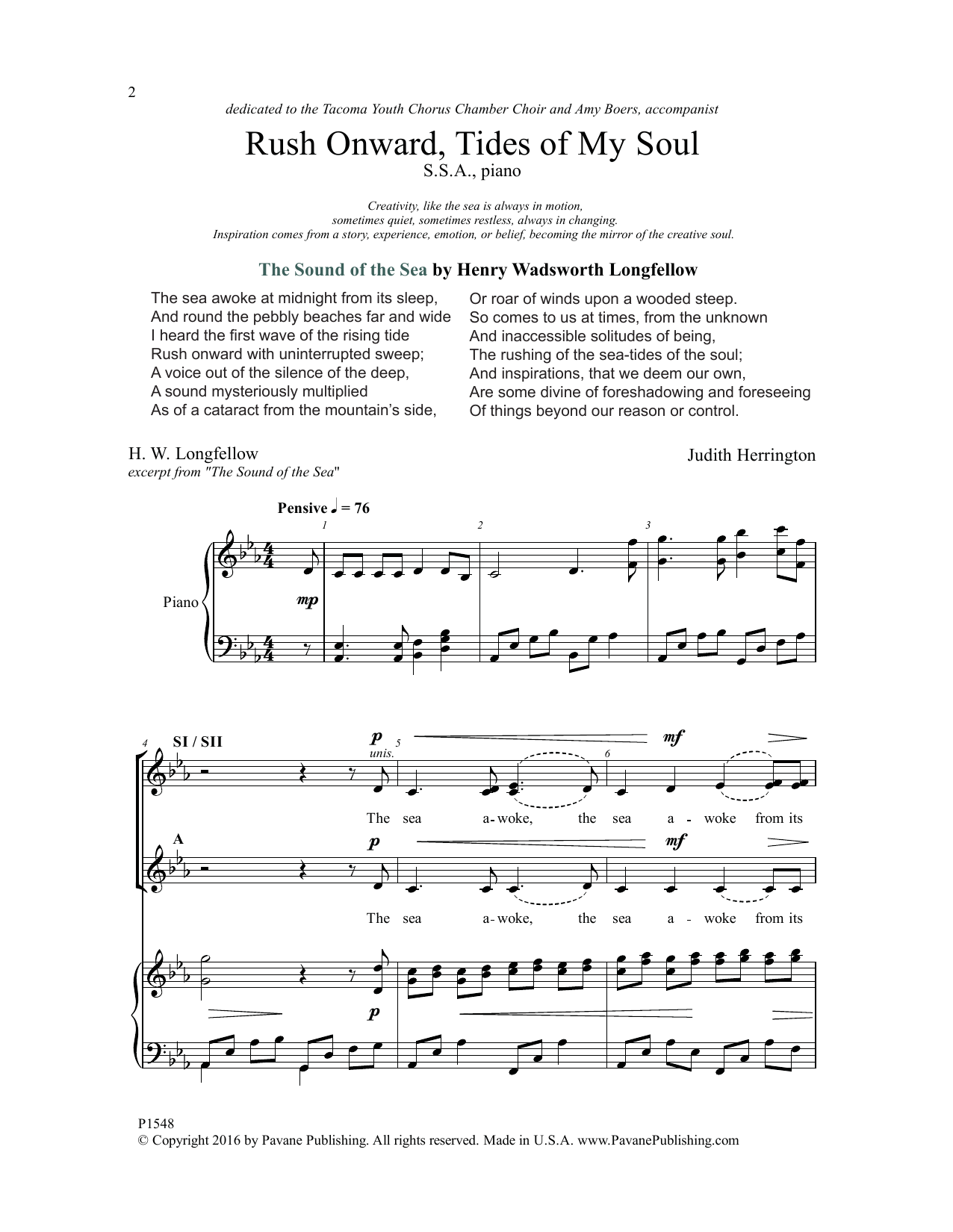 Rush Onward, Tides of My Soul Sheet Music