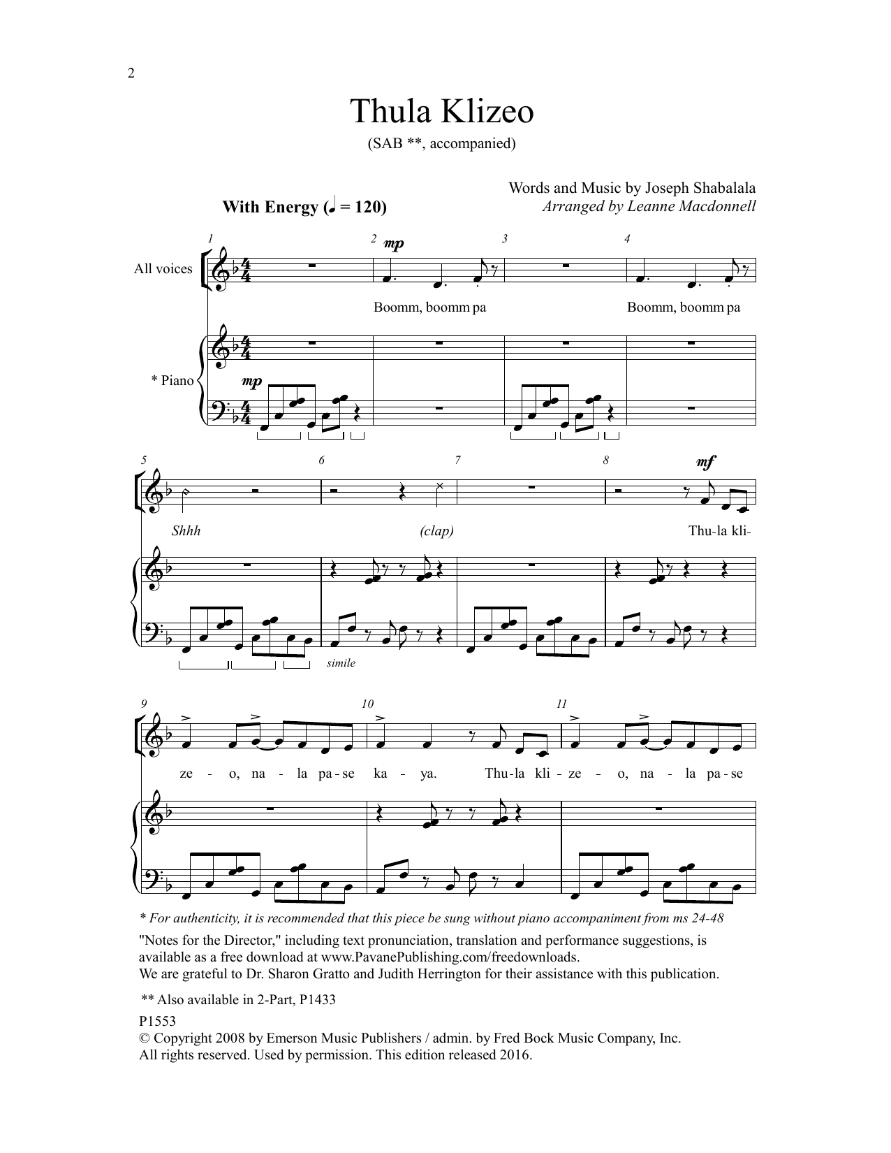 Thula Klizeo Sheet Music